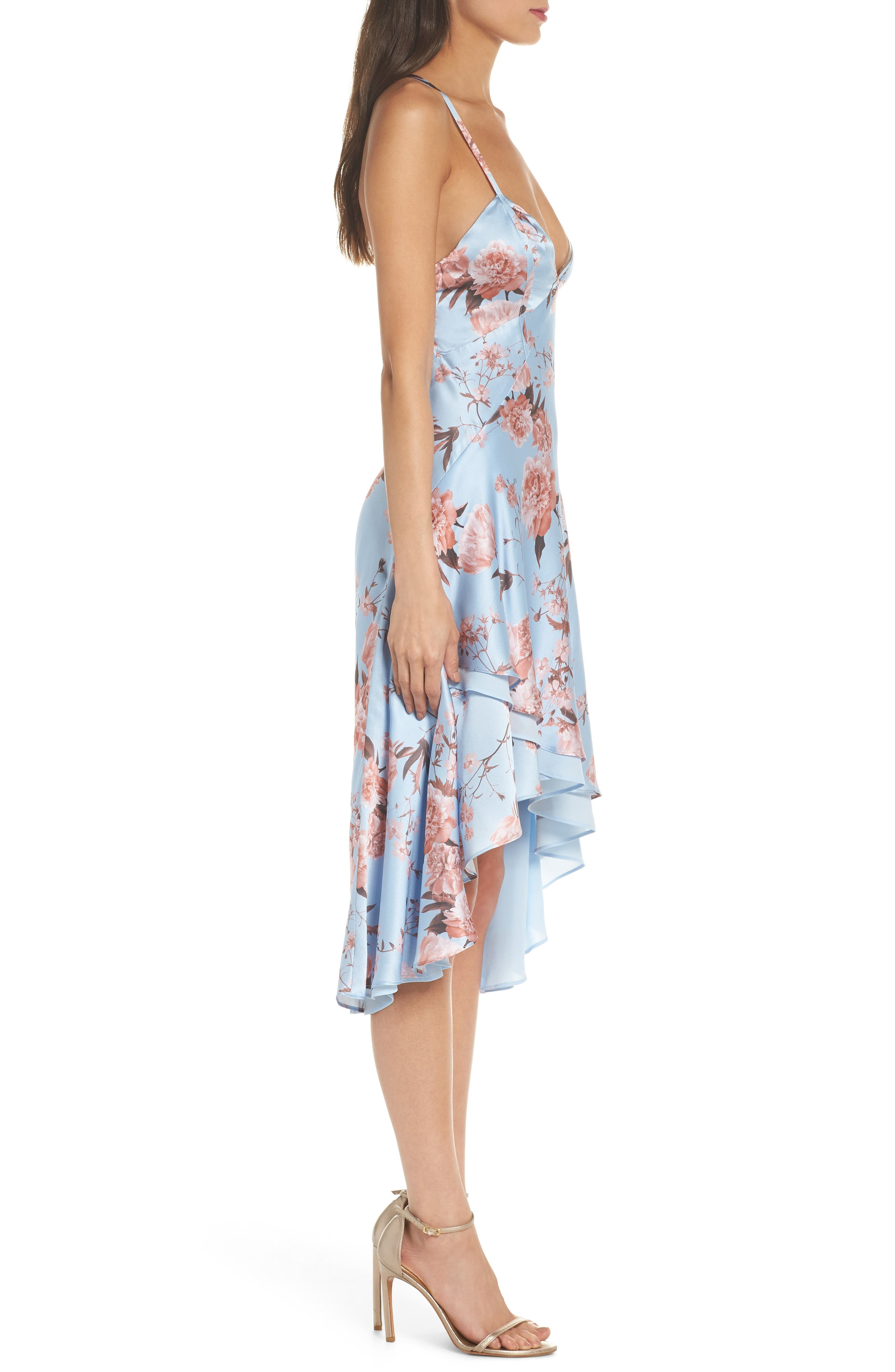 The Farren Floral Silk Dress,                             Alternate thumbnail 3, color,                             Sky Blossom Floral