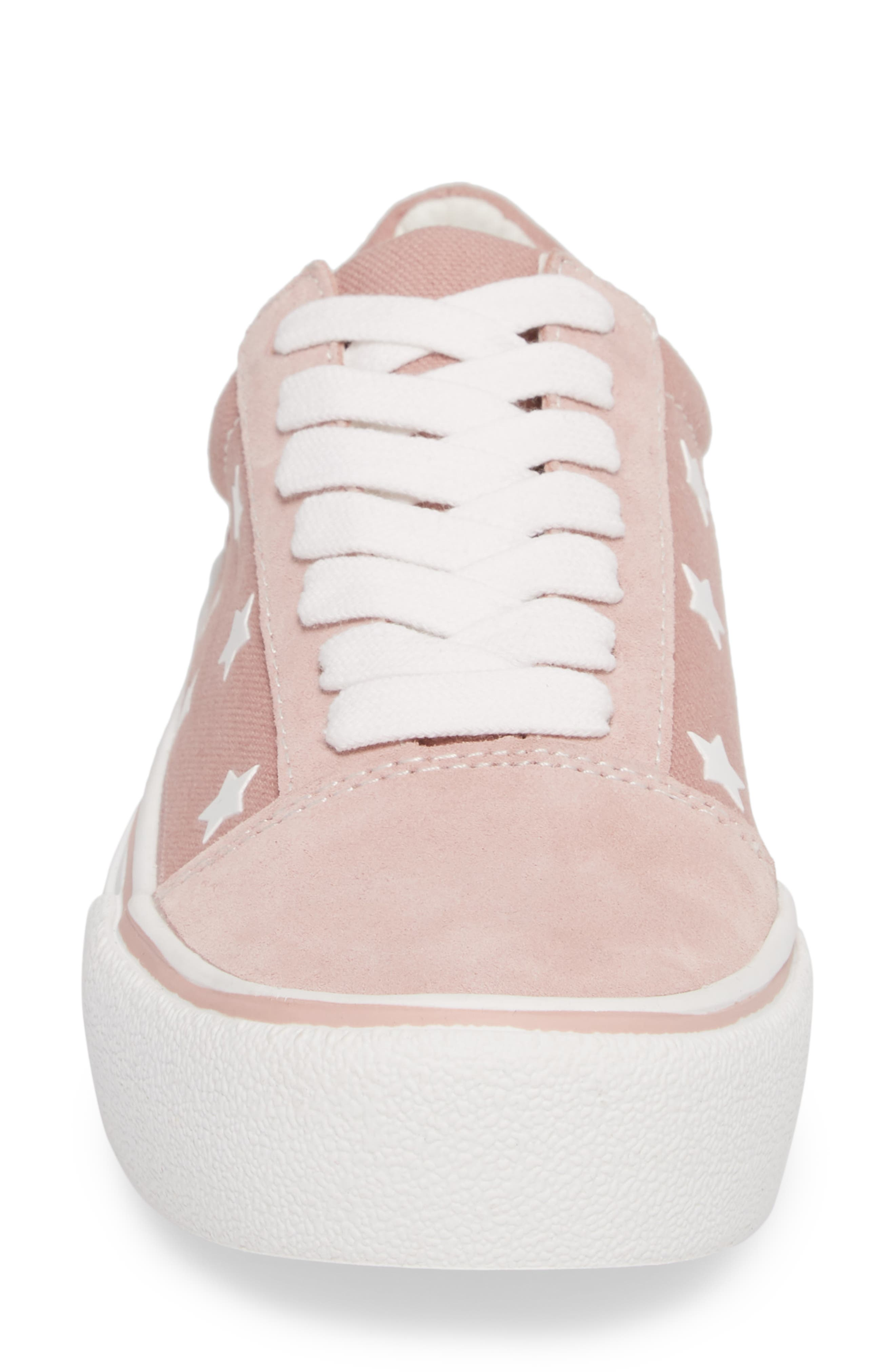 Emile Platform Sneaker,                             Alternate thumbnail 4, color,                             Pink Suede