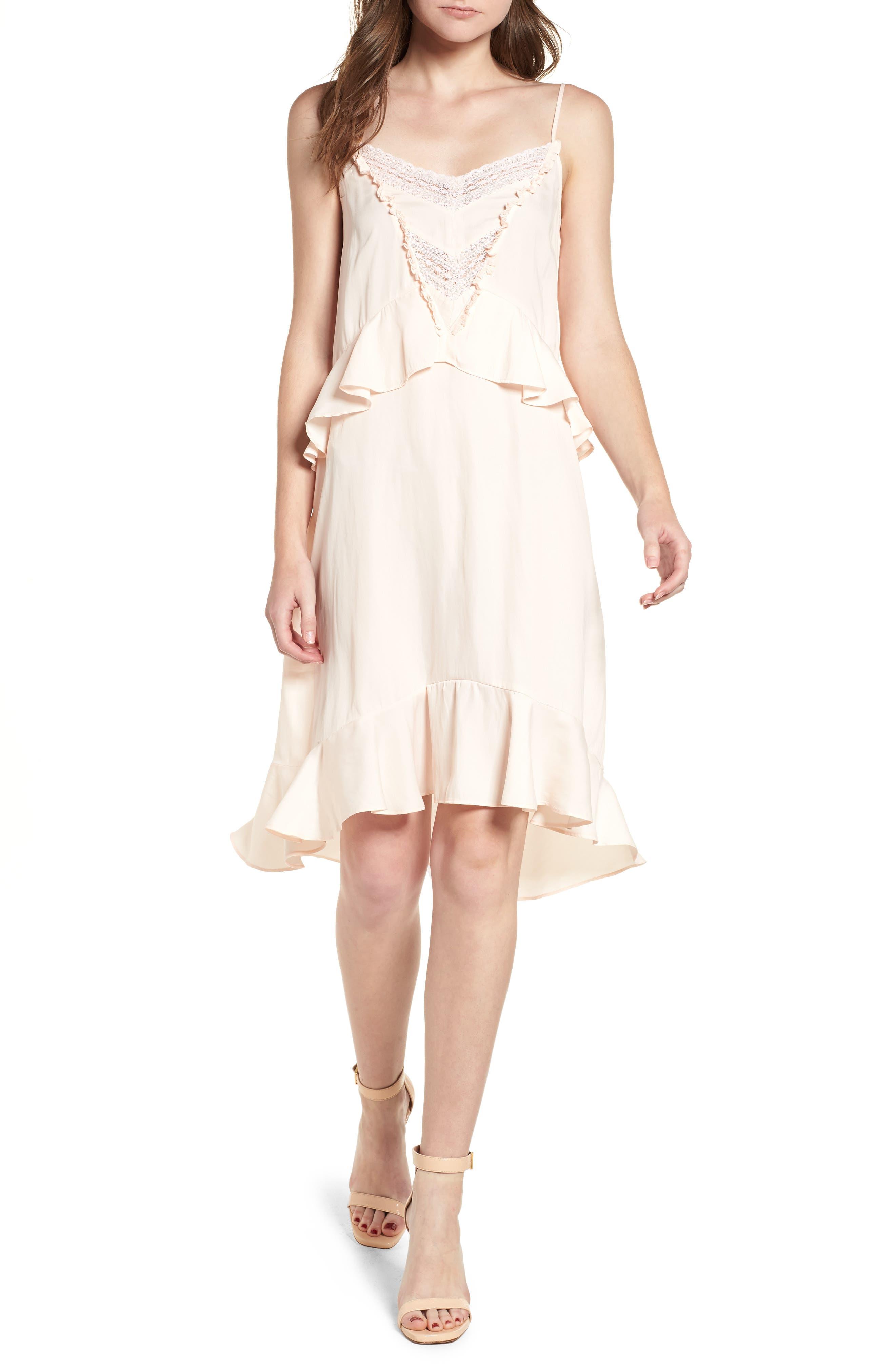Lace Trim Dress,                             Main thumbnail 1, color,                             Pink Scallop