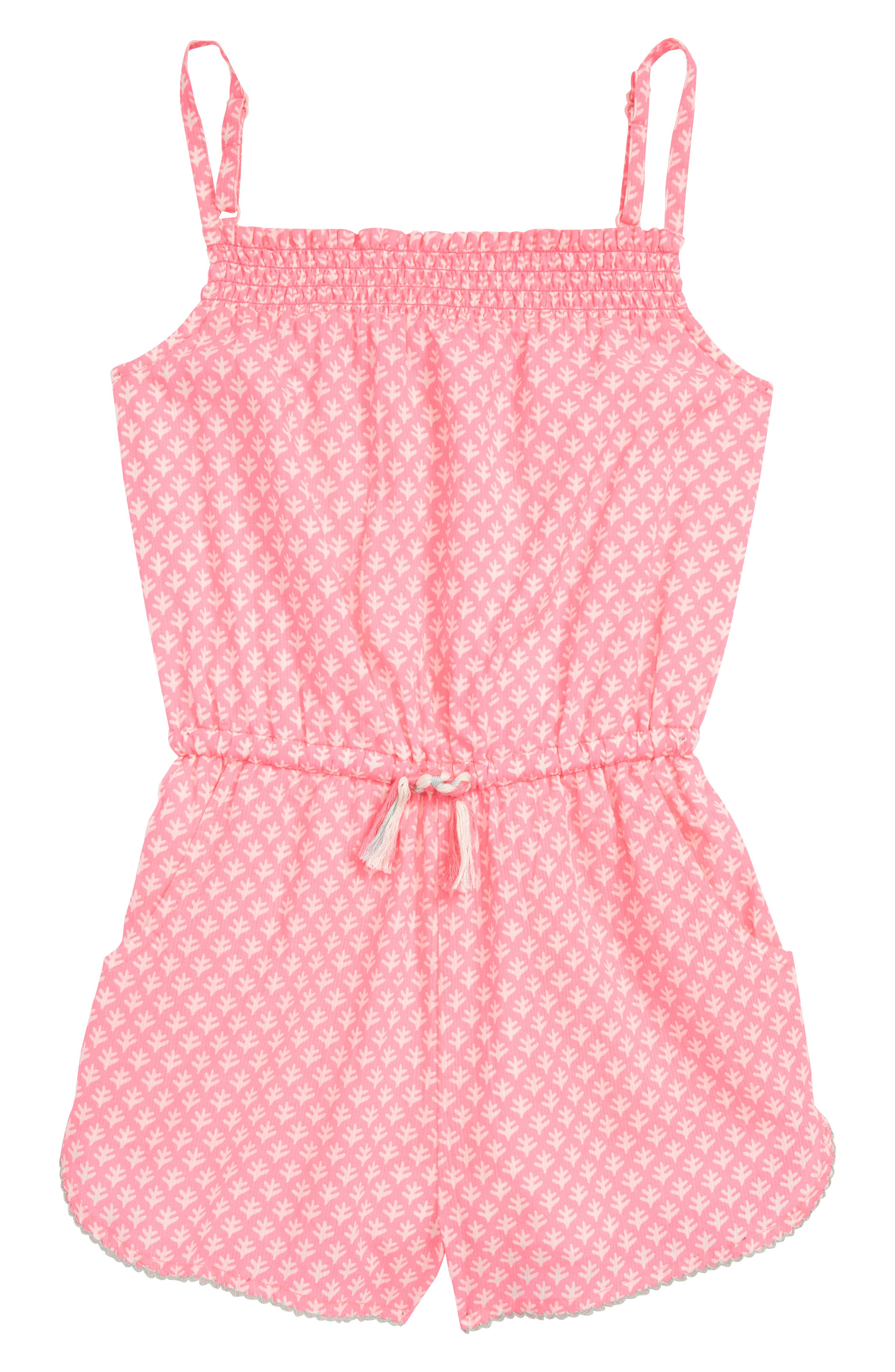 Strappy Woven Romper,                         Main,                         color, Knockout Pink/ Ivory Geo Coral