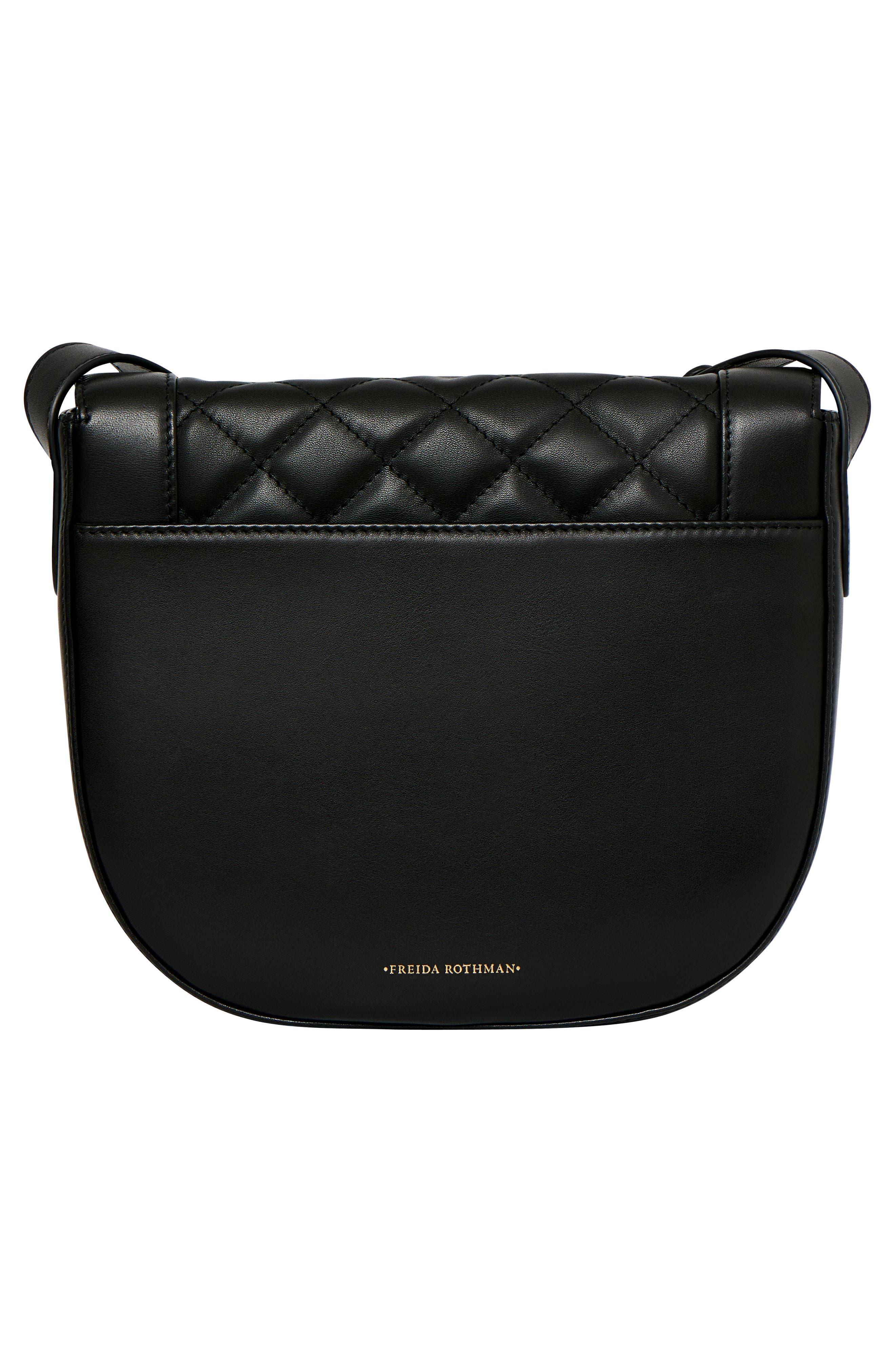 Bleeker Quilted Leather Messenger Bag,                             Alternate thumbnail 3, color,                             Black
