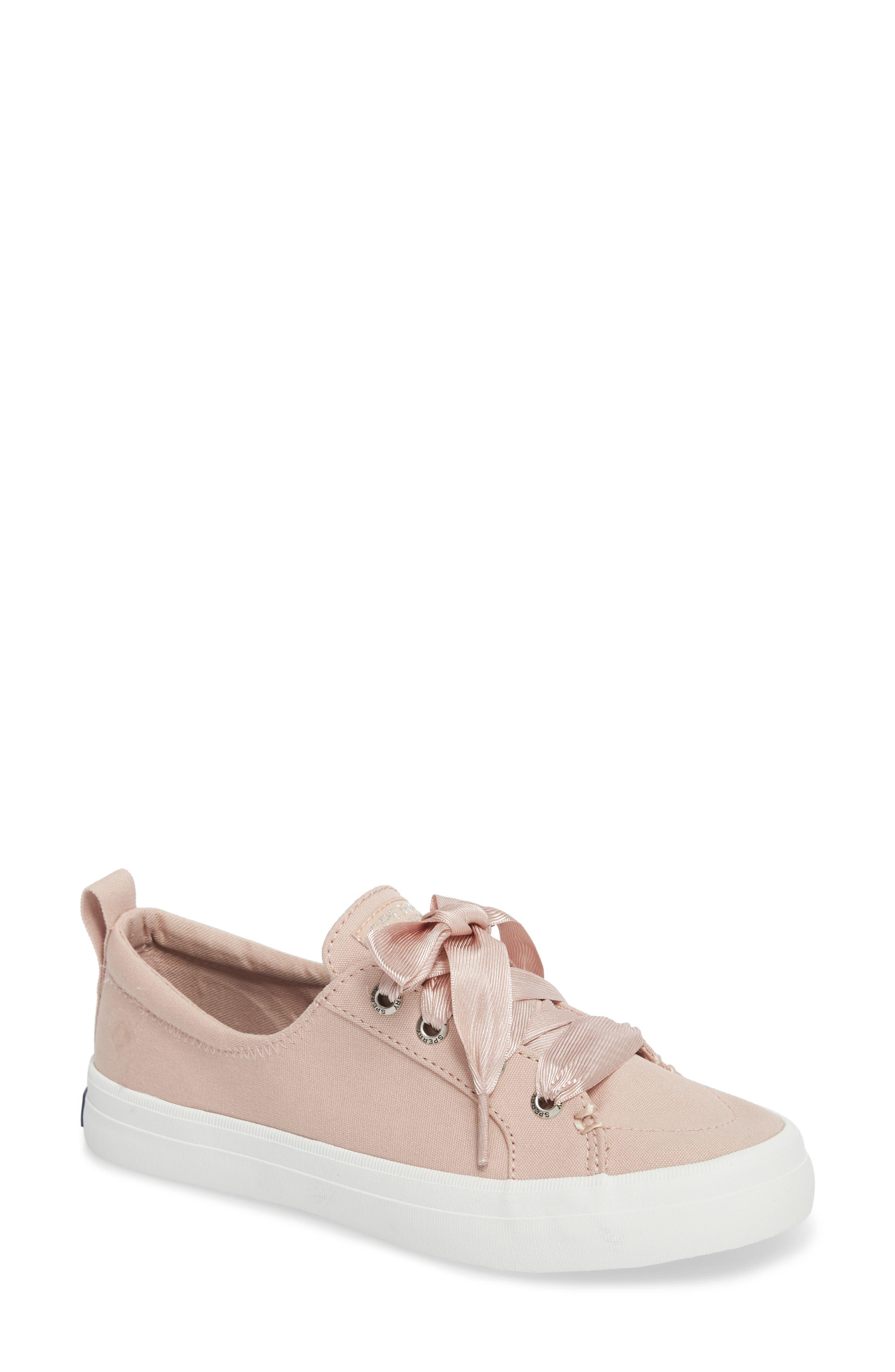 Crest Vibe Satin Lace Sneaker,                         Main,                         color, Rose Dust Canvas