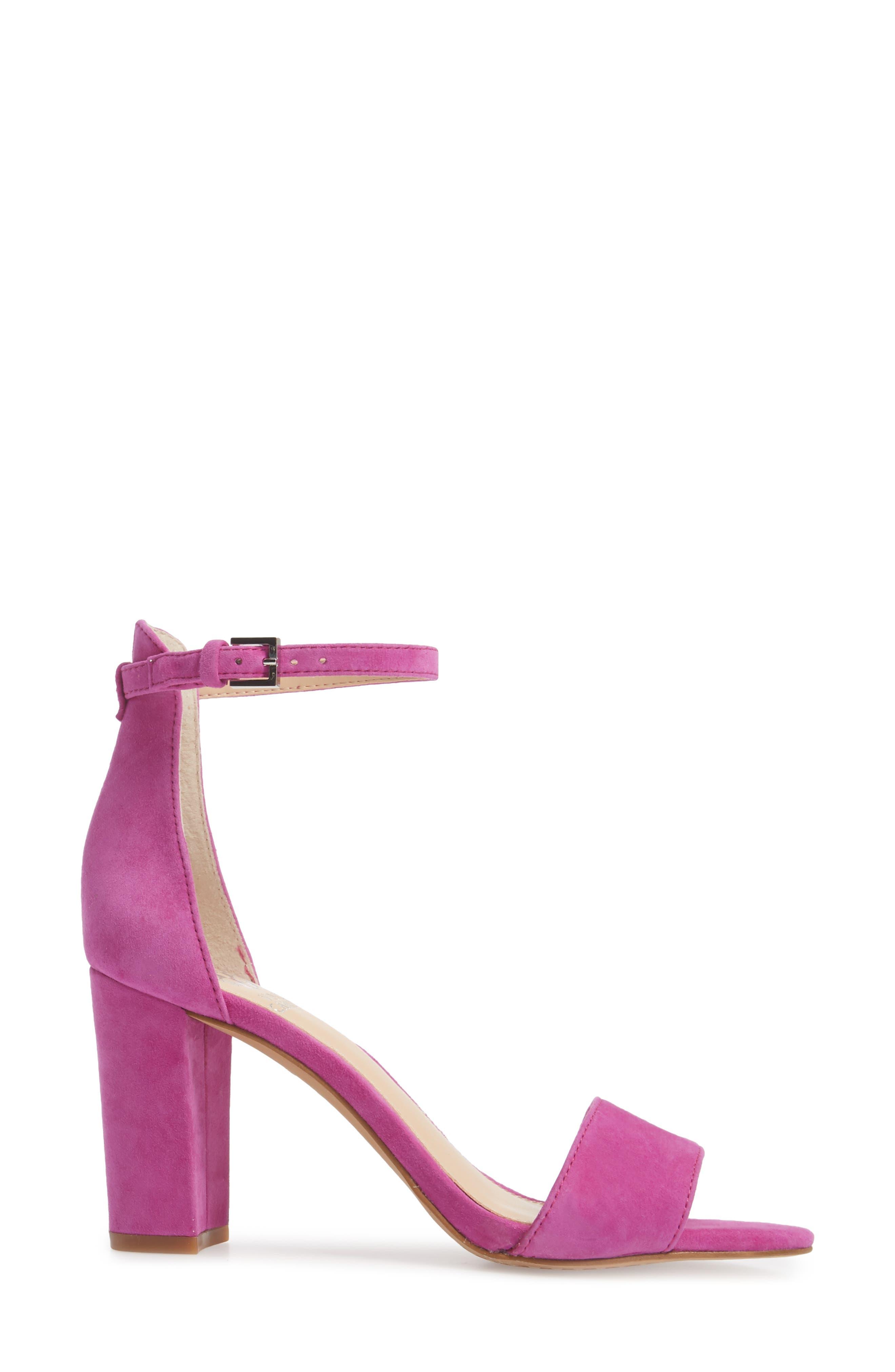 Corlina Ankle Strap Sandal,                             Alternate thumbnail 3, color,                             Drama Pink Suede