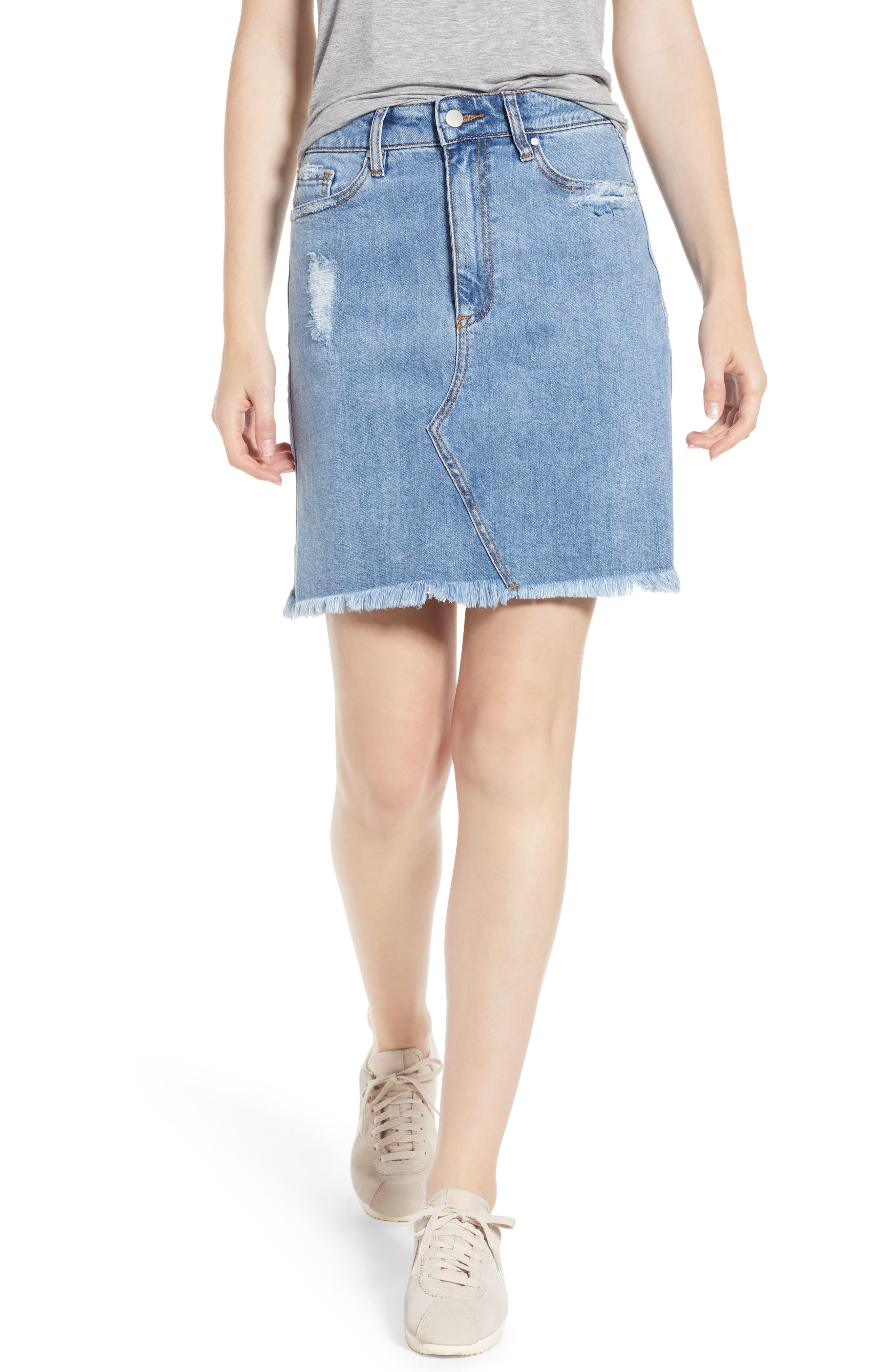 Distressed Denim Skirt,                             Main thumbnail 1, color,                             Light Wash