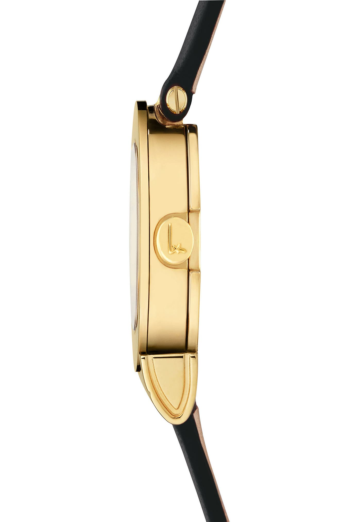 Gancino Leather Strap Watch, 22mm,                             Alternate thumbnail 3, color,                             Black/ Gold