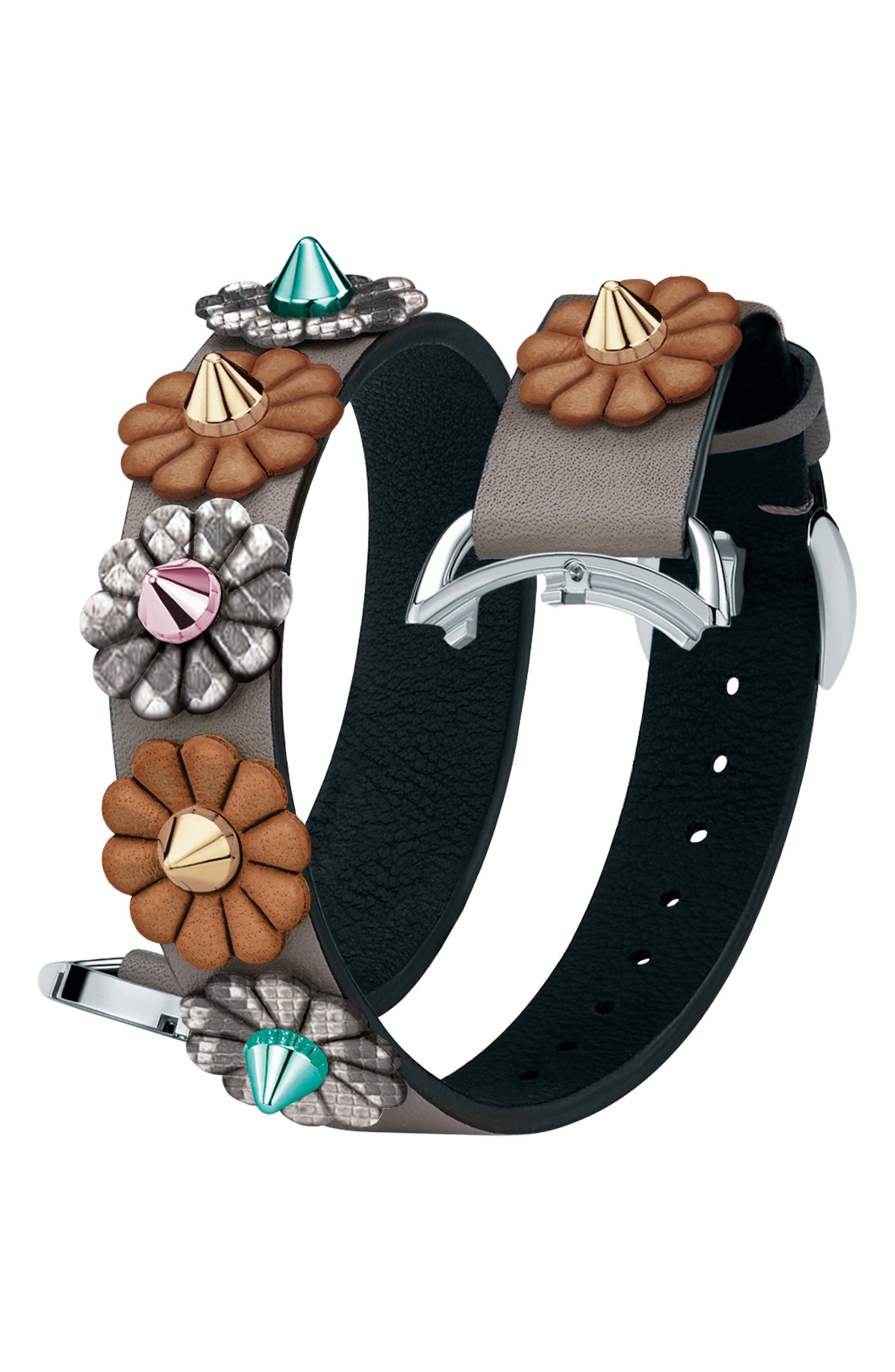 Selleria 17Mm Embellished Leather Watch Strap in Brown