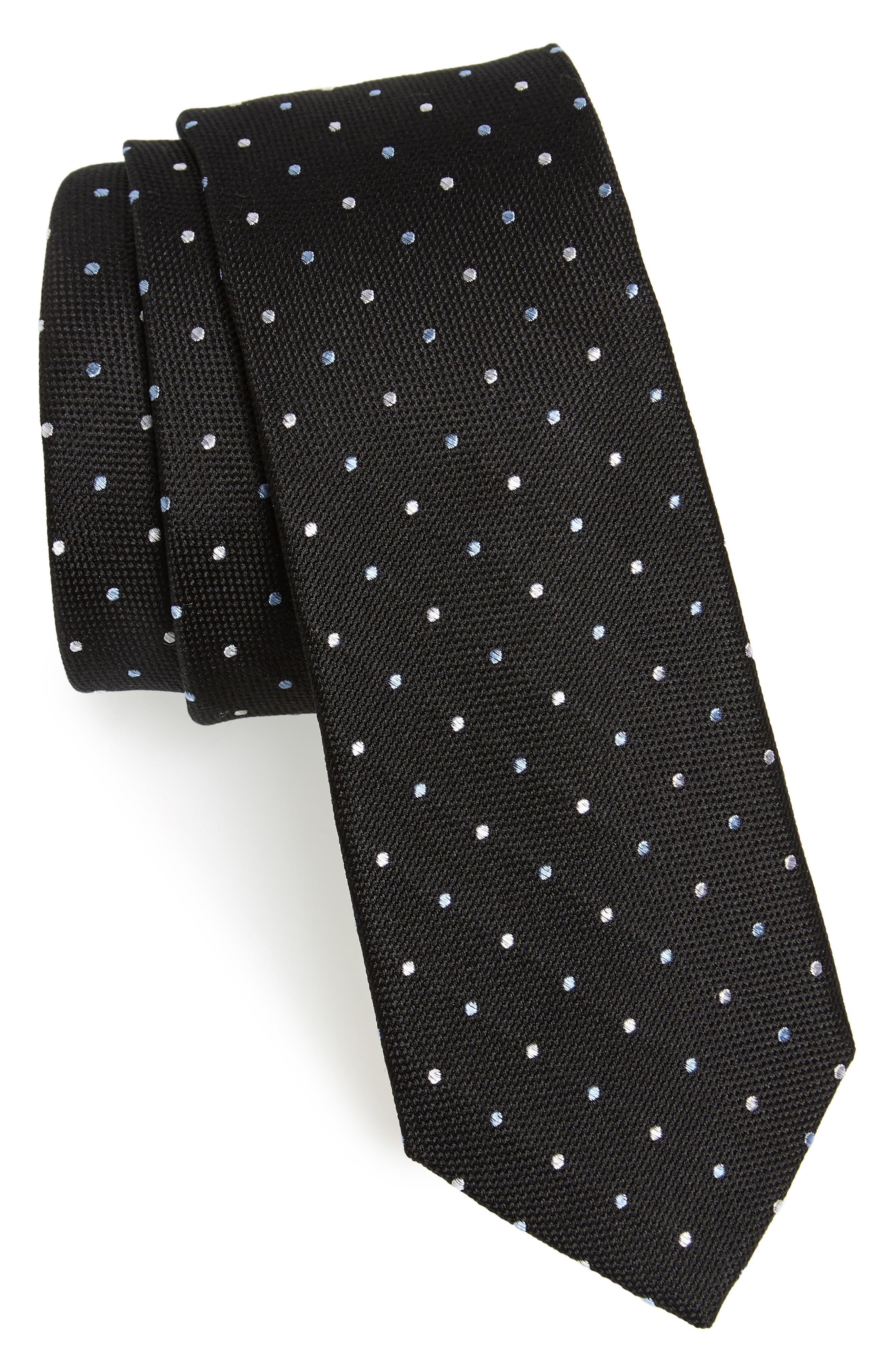 Mirage Dot Silk Tie,                         Main,                         color, Black