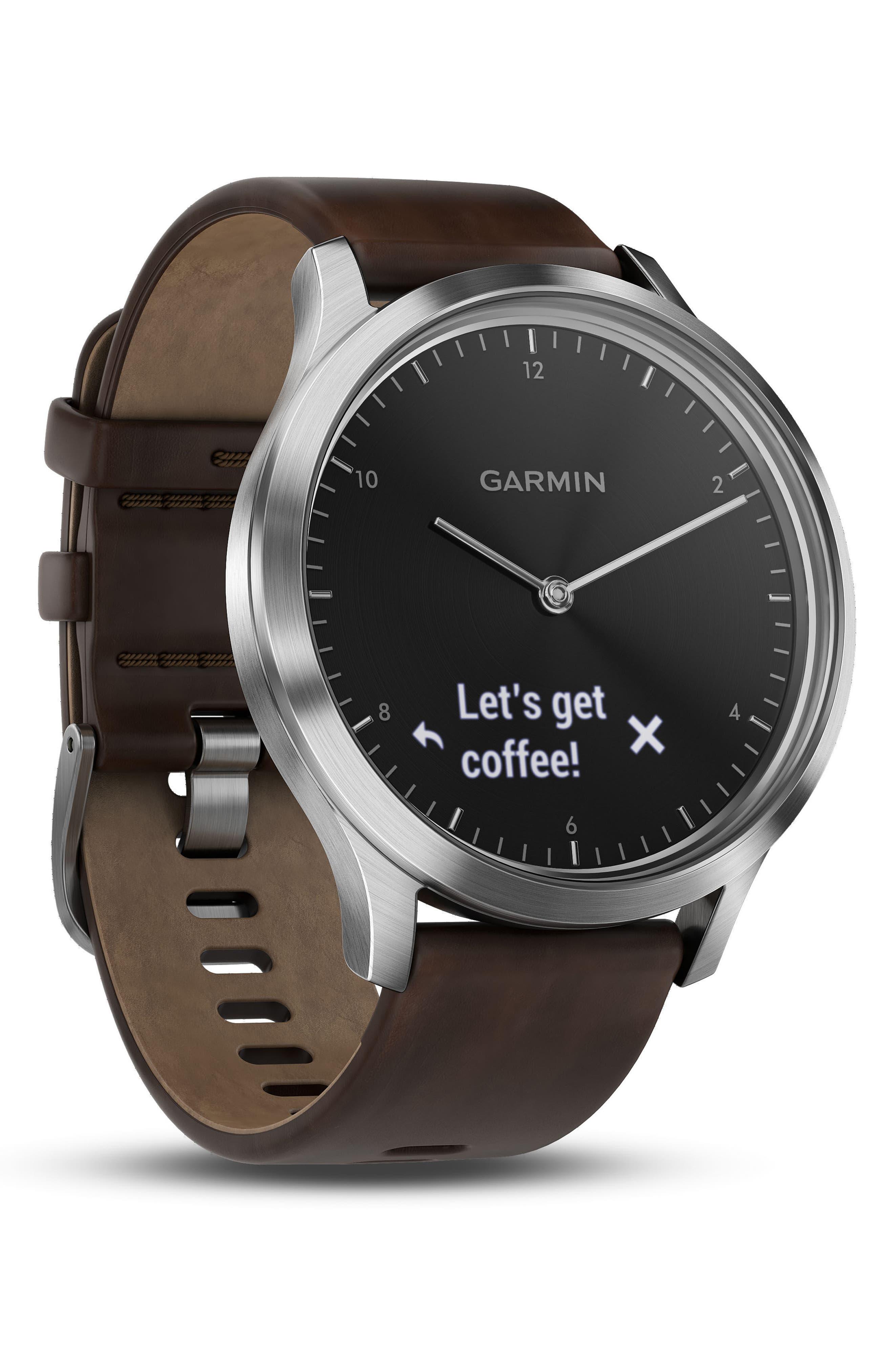 Vivomove HR Hybrid Smart Watch,                             Alternate thumbnail 2, color,                             Brown/ Black/ Silver