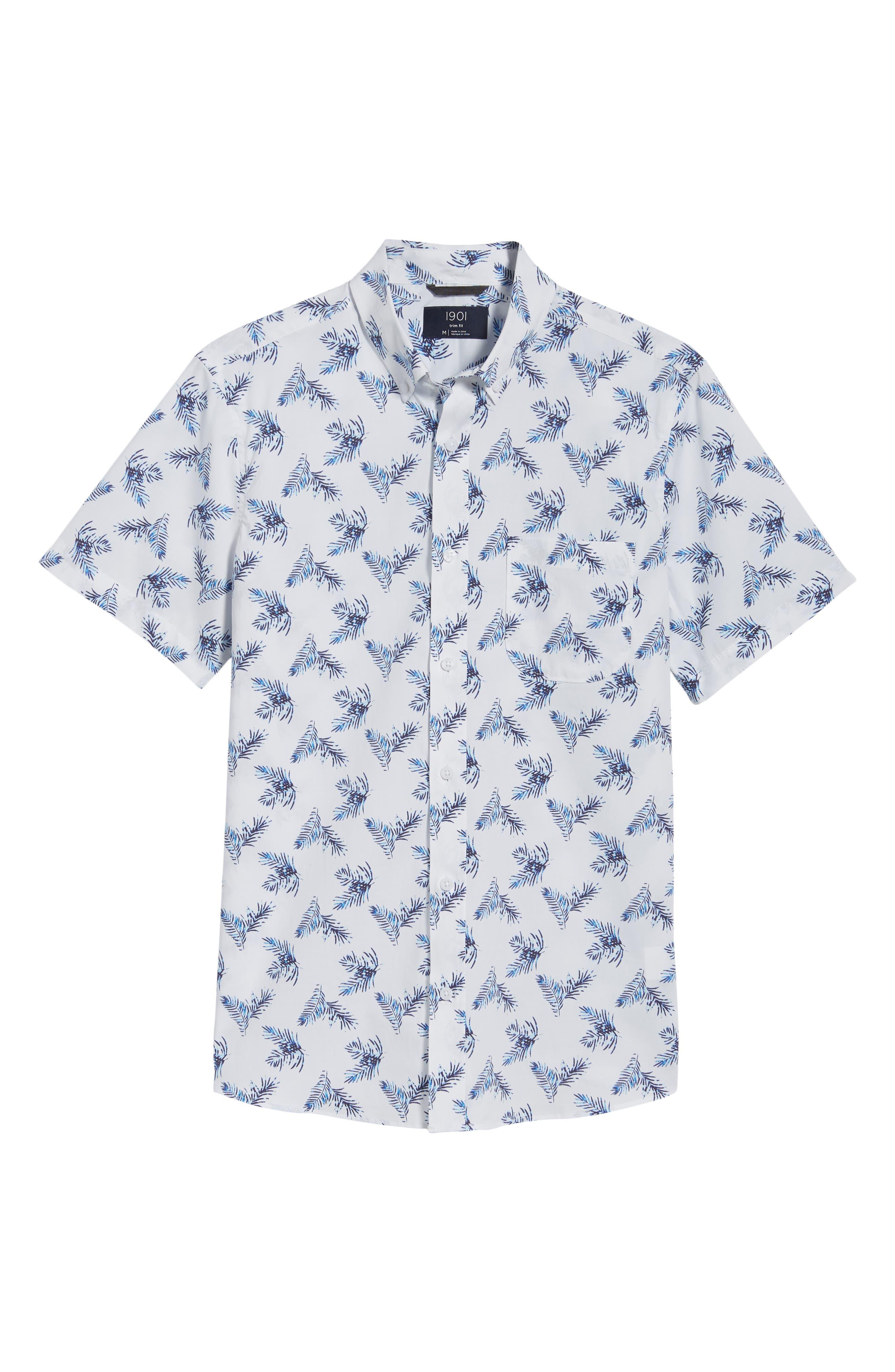 Trim Fit Palm Print Sport Shirt,                             Alternate thumbnail 6, color,                             White Blue Palm