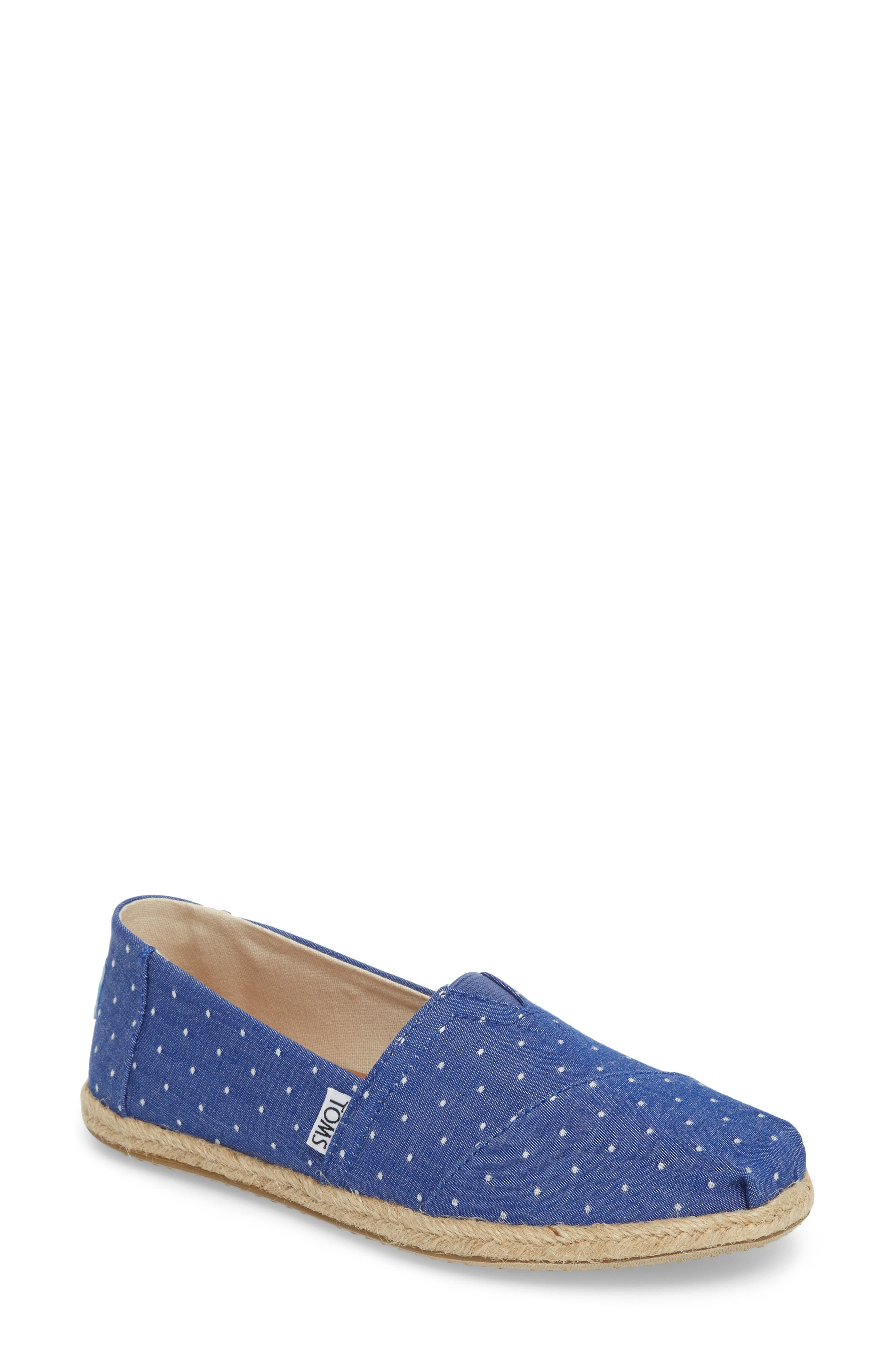 Deconstructed Alpargata Slip-On,                             Main thumbnail 1, color,                             Blue Dot Fabric