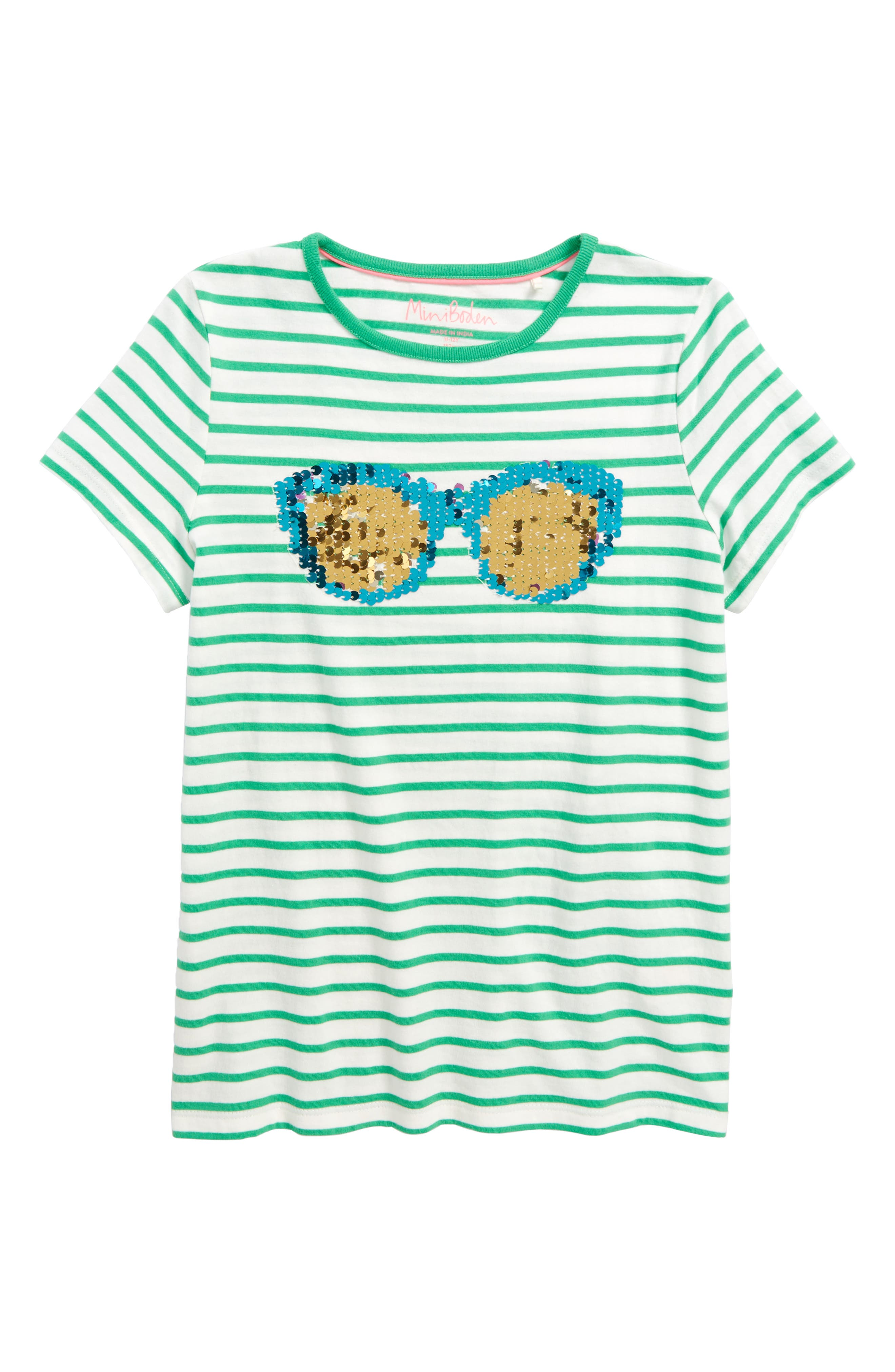 Sunny Sequin Tee,                         Main,                         color, Grnivory/ Peppermint Green