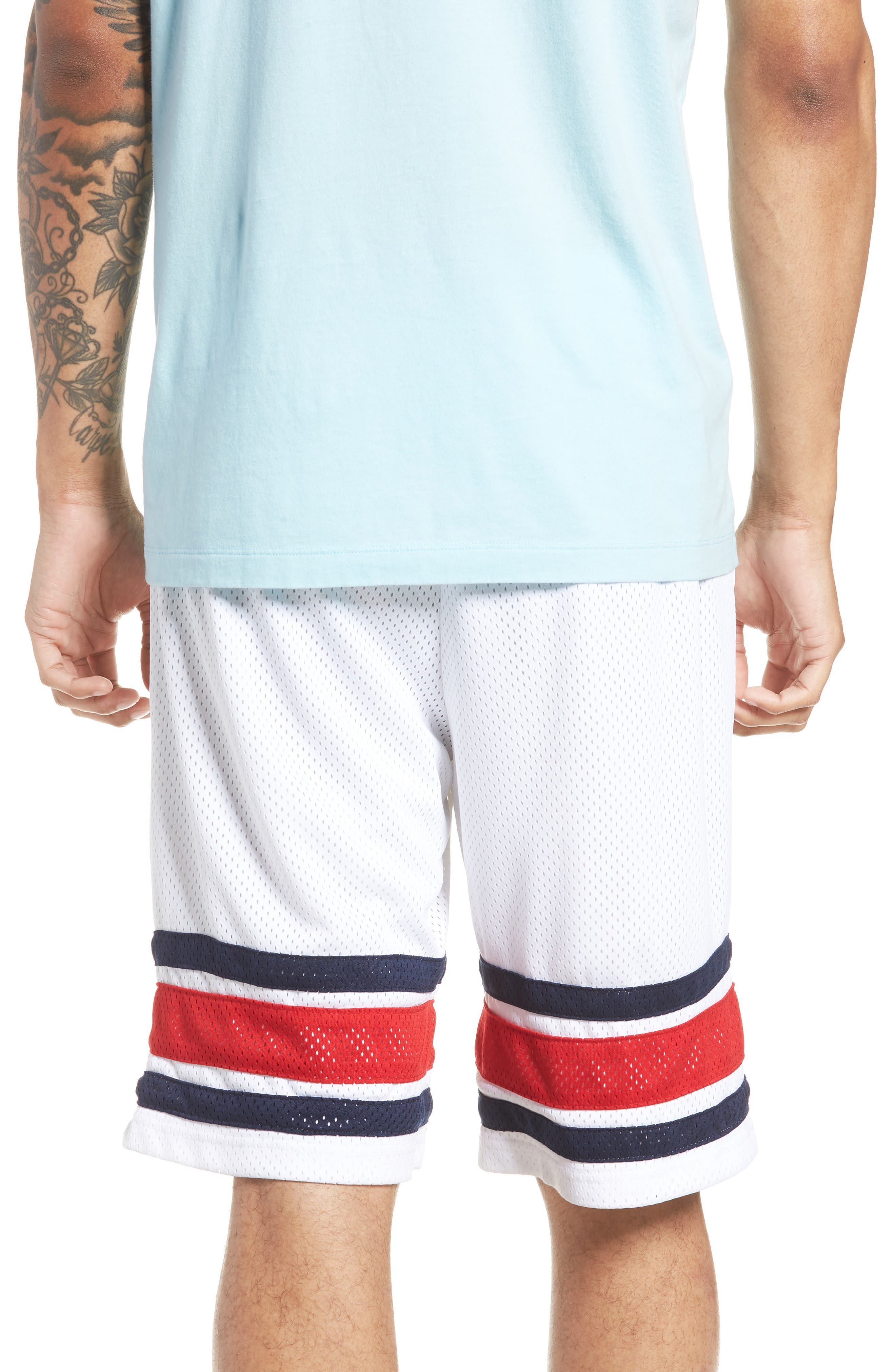 Parker Basketball Shorts,                             Alternate thumbnail 2, color,                             White/ Peacoat/ Chinese Red