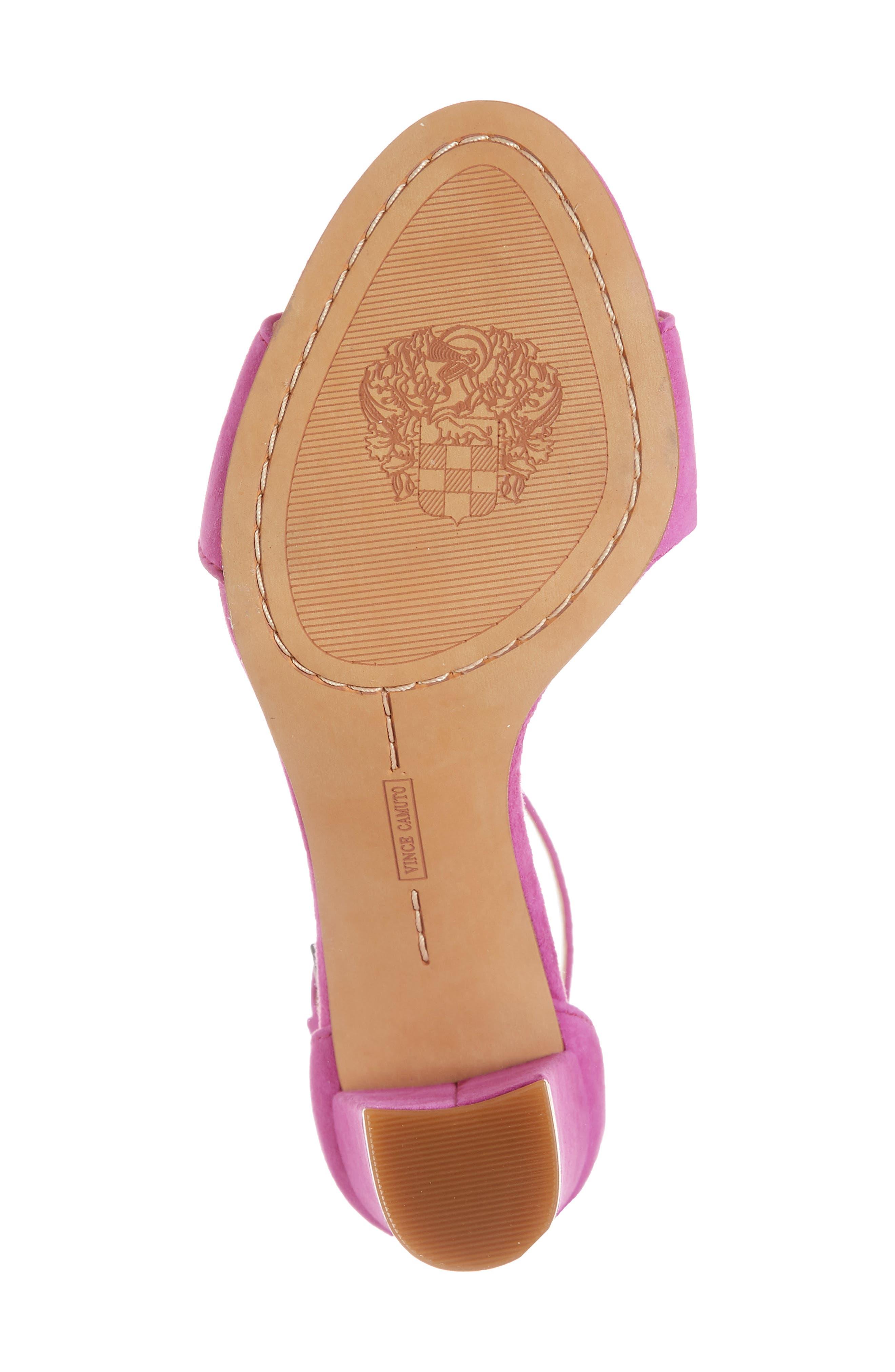 Corlina Ankle Strap Sandal,                             Alternate thumbnail 6, color,                             Drama Pink Suede