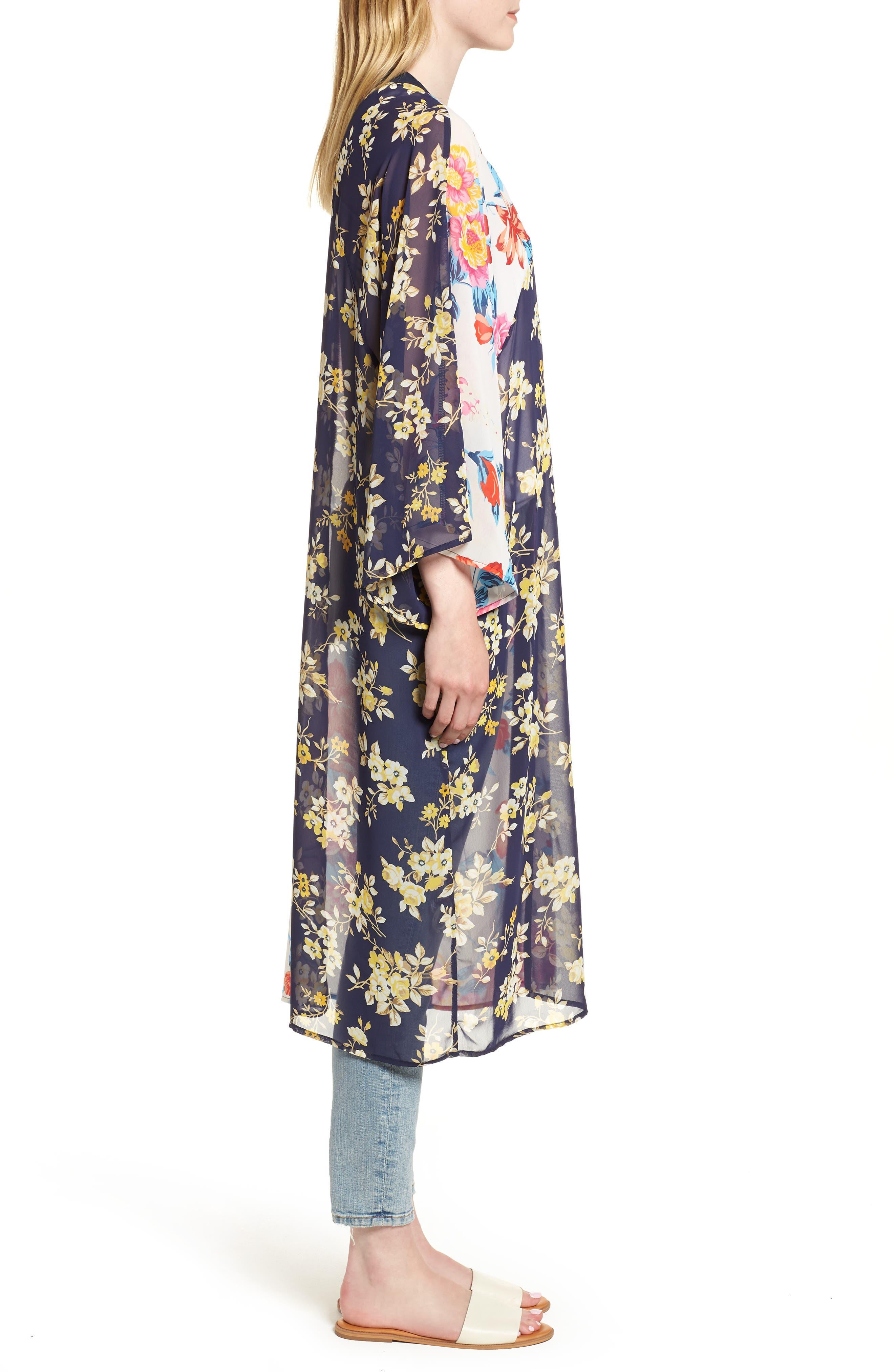 Mix Print Kimono,                             Alternate thumbnail 3, color,                             Multi Combo