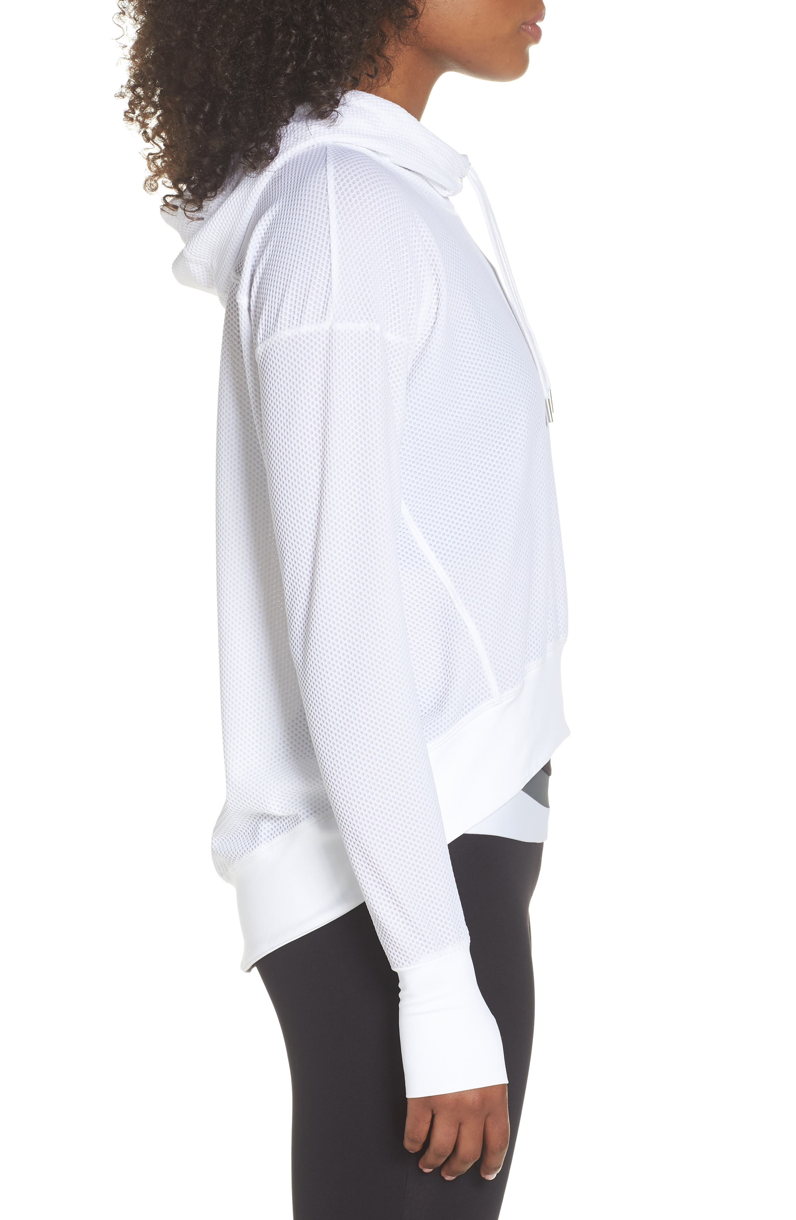 BoomBoom Athletica Bubble Mesh Hoodie,                             Alternate thumbnail 3, color,                             White
