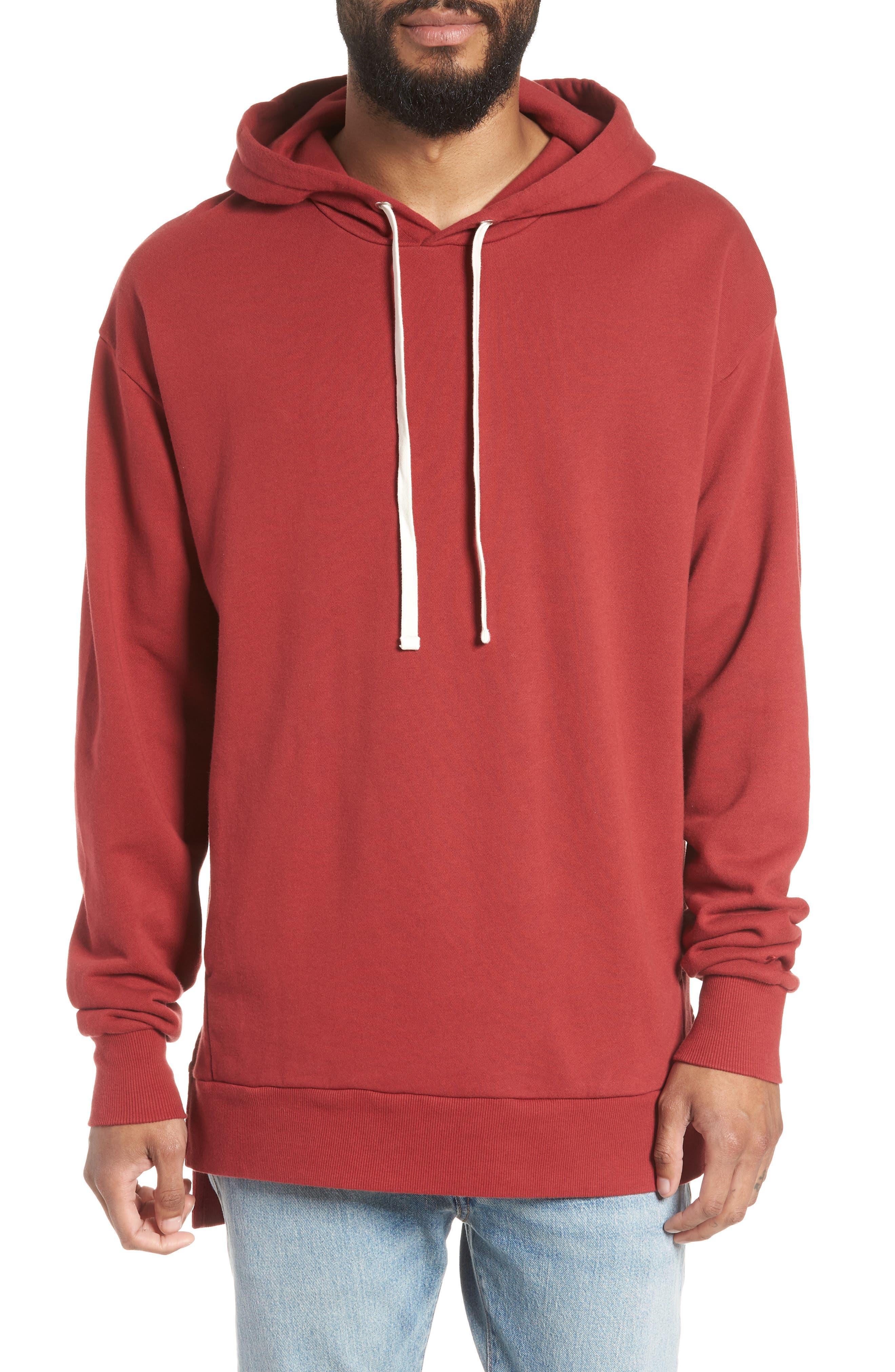 Rugger Hooded Sweatshirt,                         Main,                         color, Dark Cherry