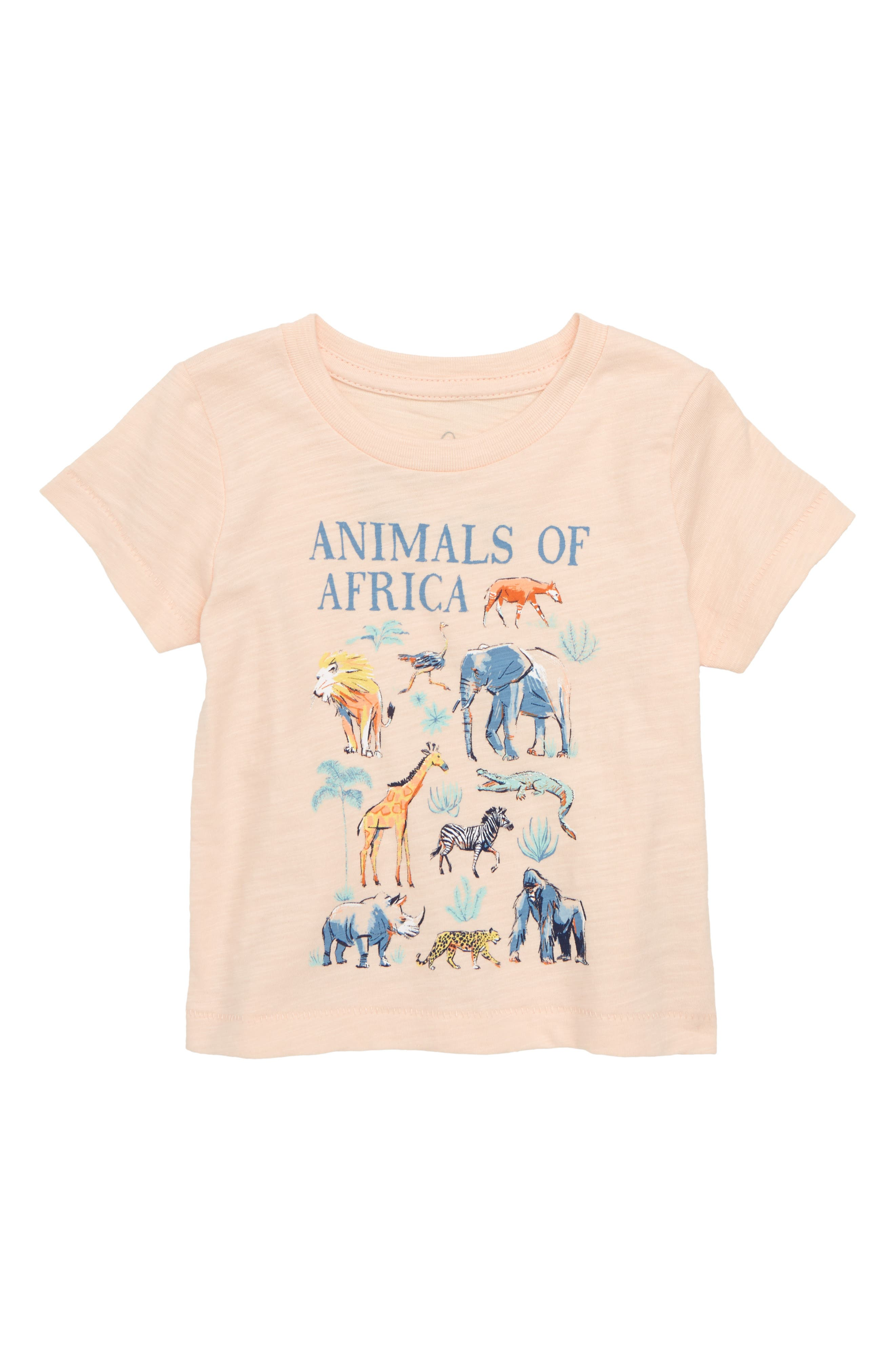 Animals of Africa Graphic Tee,                             Main thumbnail 1, color,                             Peach