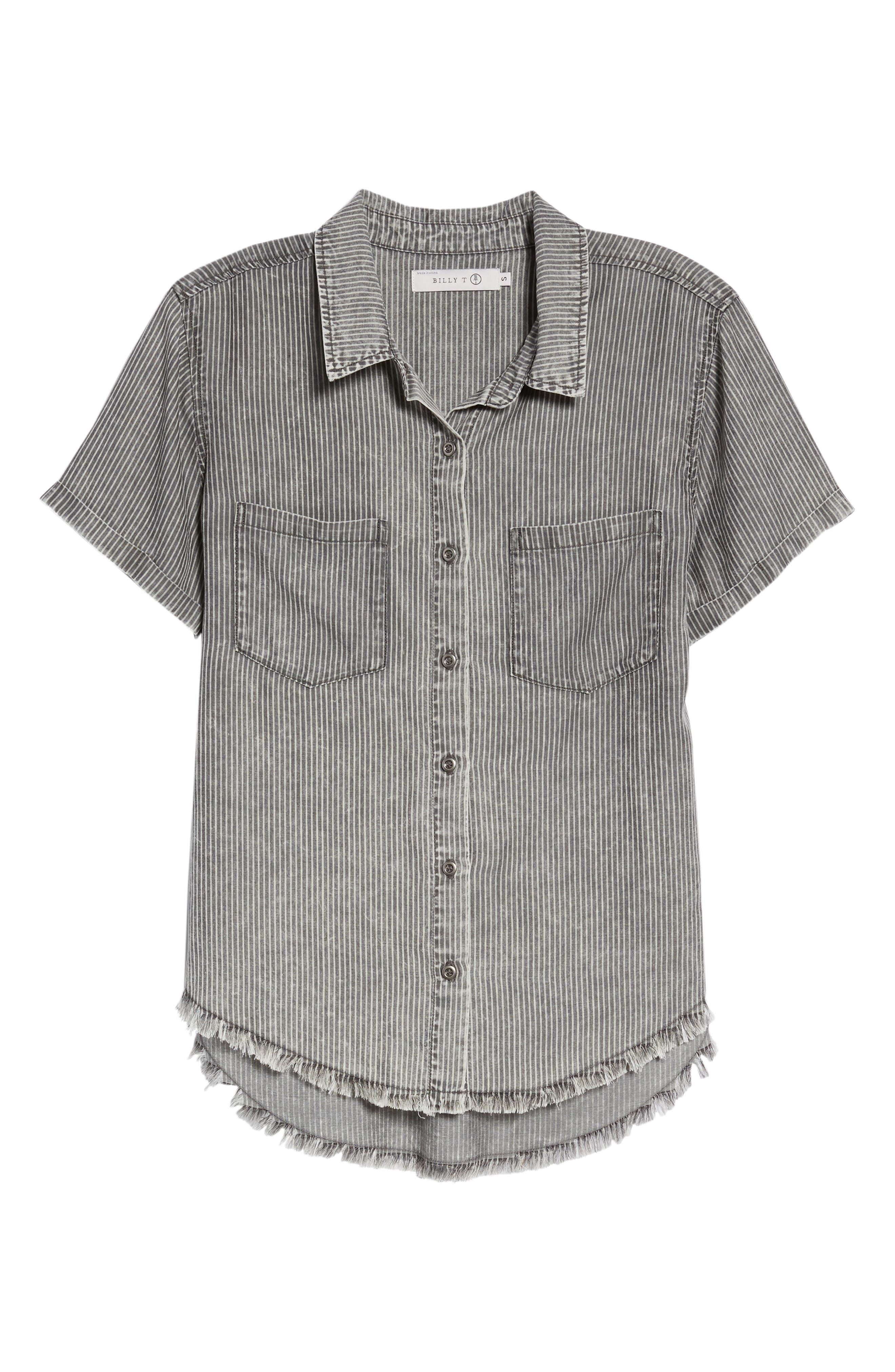 Ticking Stripe Shirt,                             Alternate thumbnail 6, color,                             Grey Rr