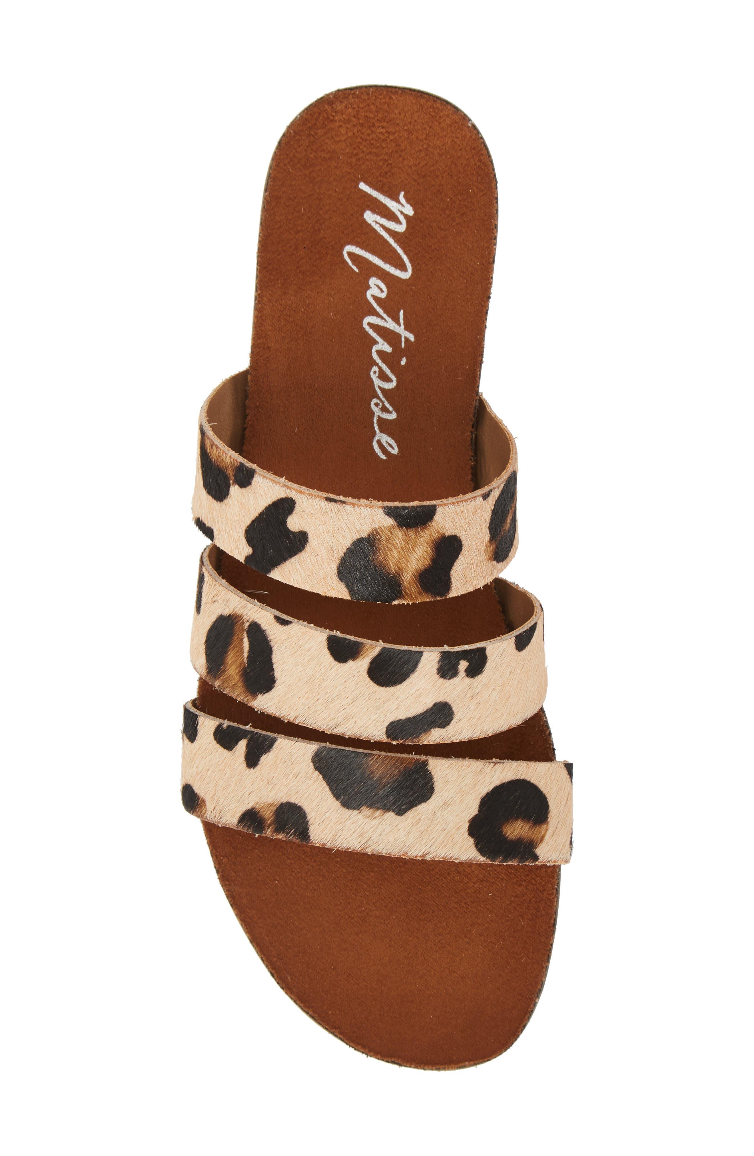 Florence Slide Sandal,                             Alternate thumbnail 5, color,                             Leopard Calf Hair