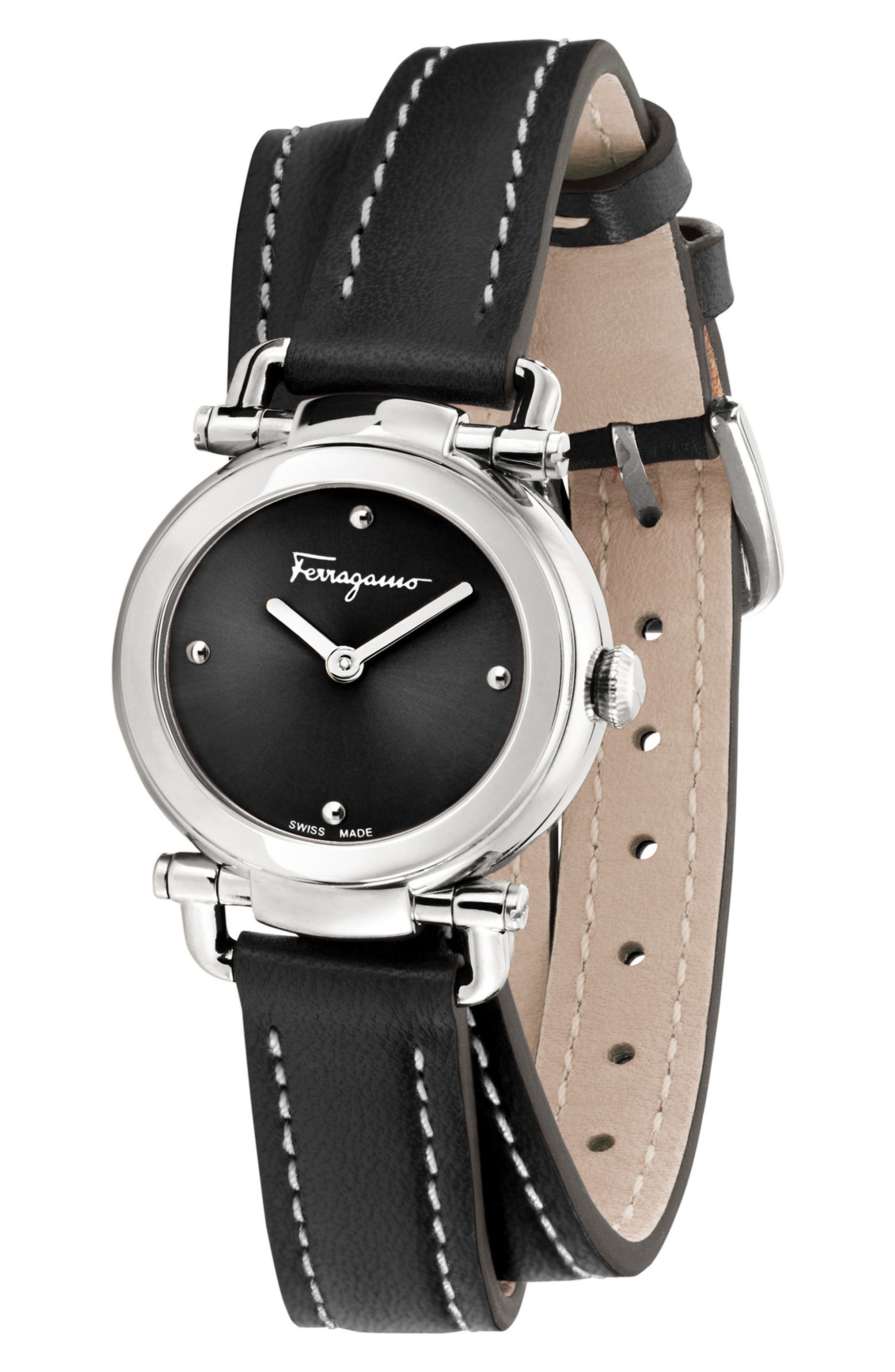 Gancino Leather Strap Watch, 26mm,                             Alternate thumbnail 4, color,                             Black/ Silver