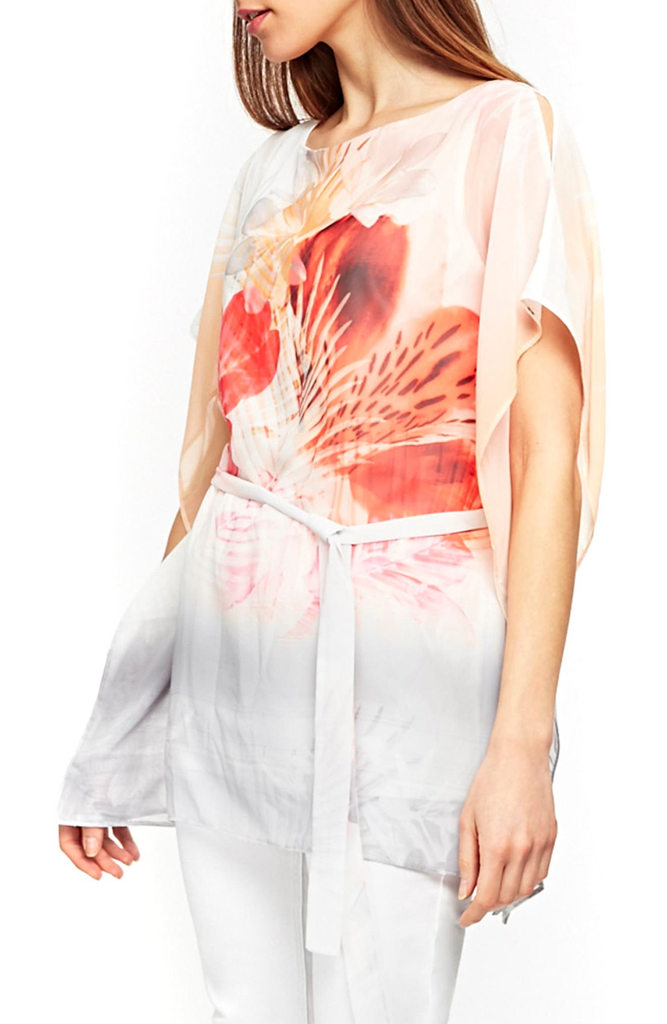 Palm Sunrise Slit Sleeve Belted Top,                             Alternate thumbnail 3, color,                             Blush