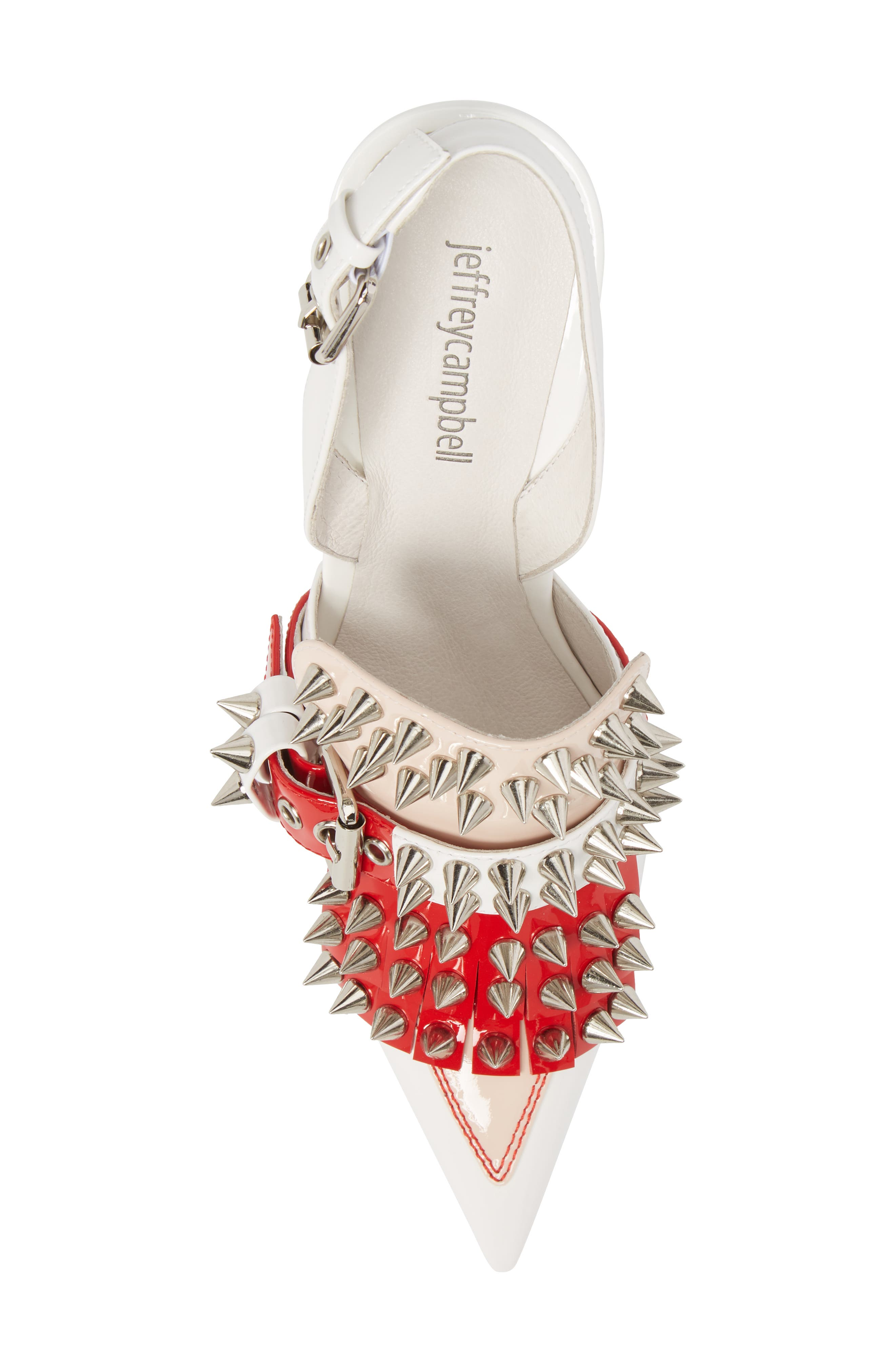 Vicious-2 Studded Loafer Pump,                             Alternate thumbnail 5, color,                             White/ Red/ Pink Patent/ White