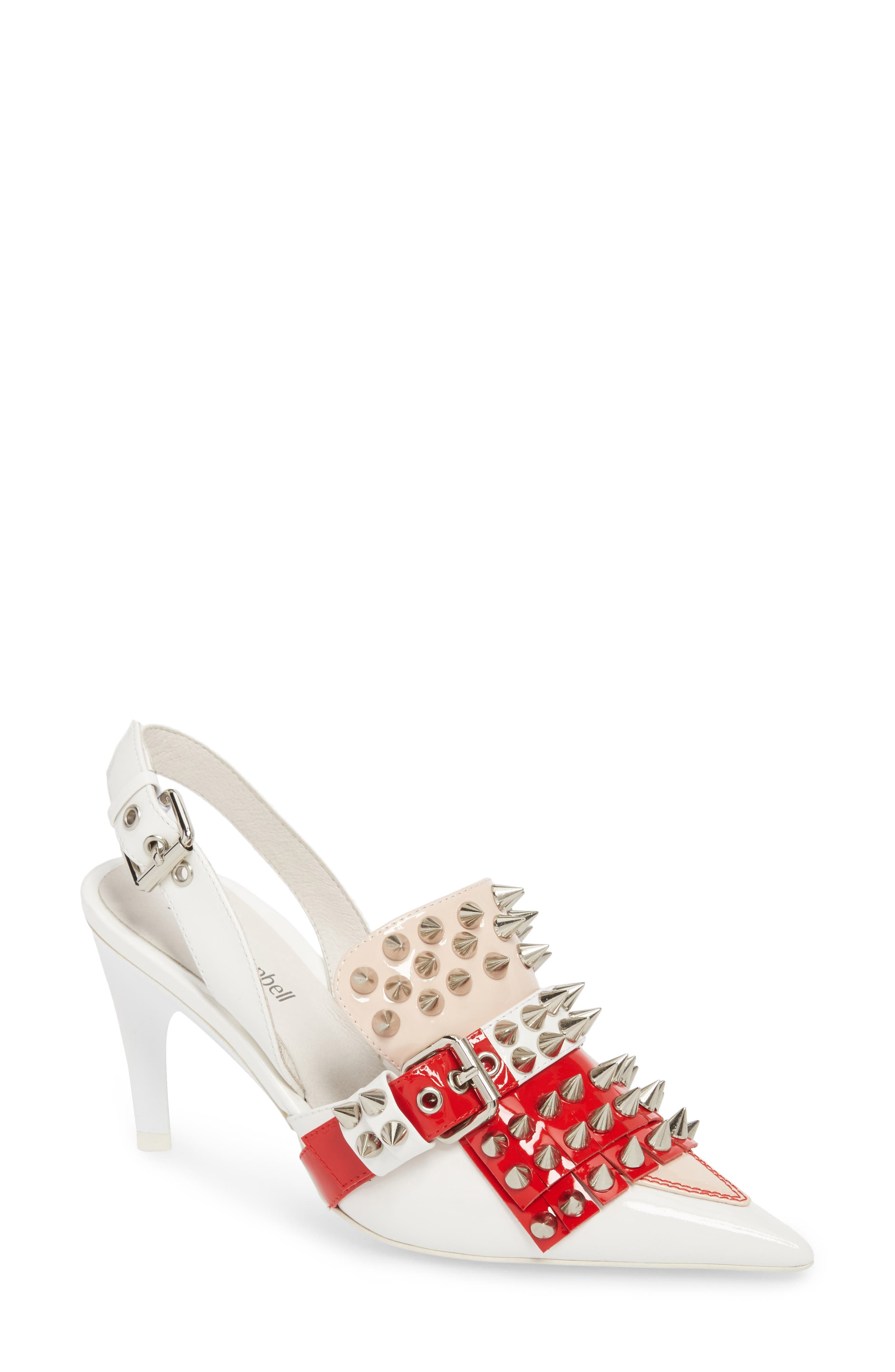 Vicious-2 Studded Loafer Pump,                             Main thumbnail 1, color,                             White/ Red/ Pink Patent/ White