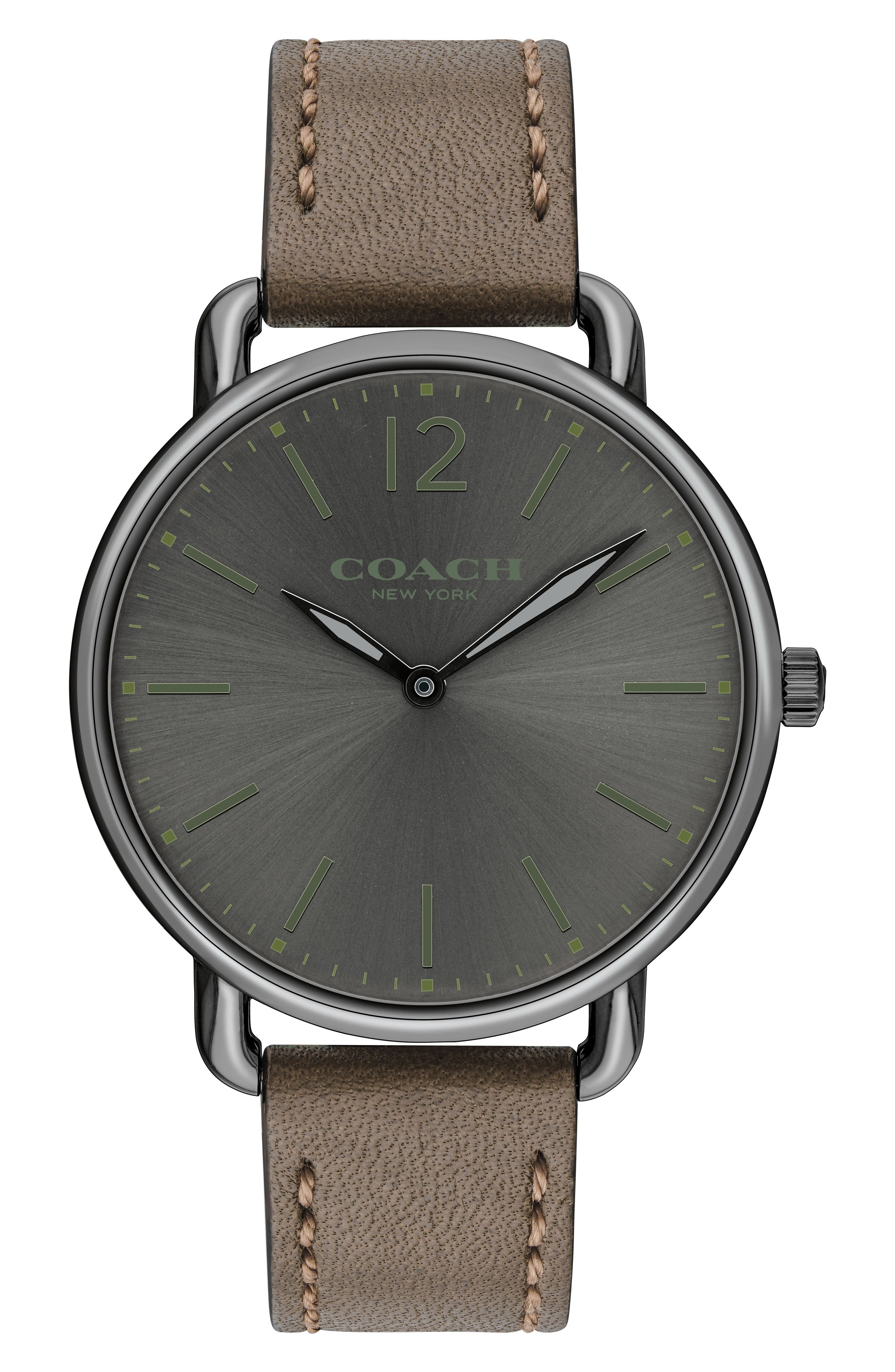 Delancey Leather Strap Watch, 40mm,                         Main,                         color, Fatigue/ Grey