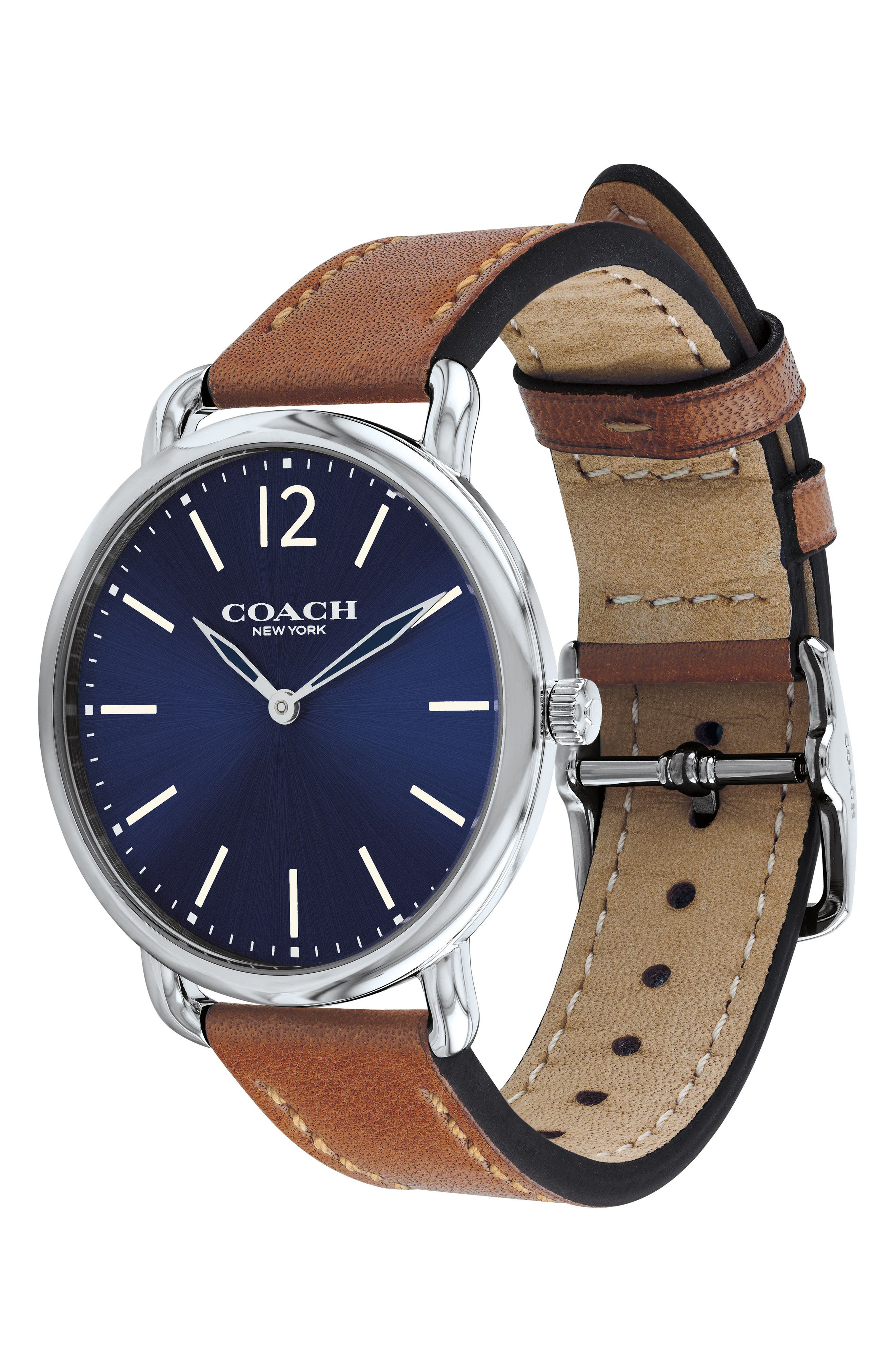 Delancey Leather Strap Watch, 40mm,                             Alternate thumbnail 3, color,                             Saddle/ Blue/ Silver