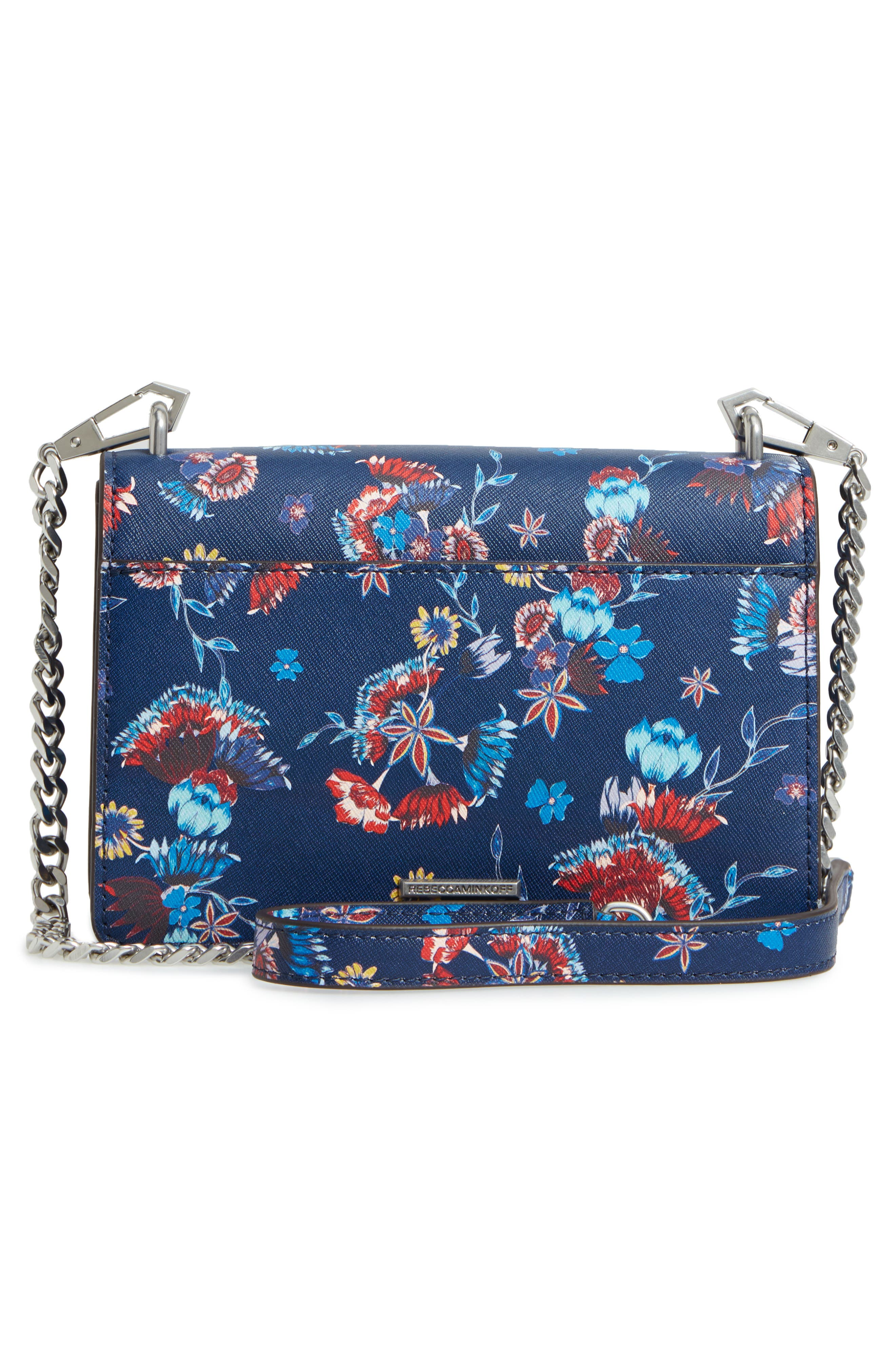 Small Christy Print Leather Shoulder Bag,                             Alternate thumbnail 3, color,                             Floral Blue