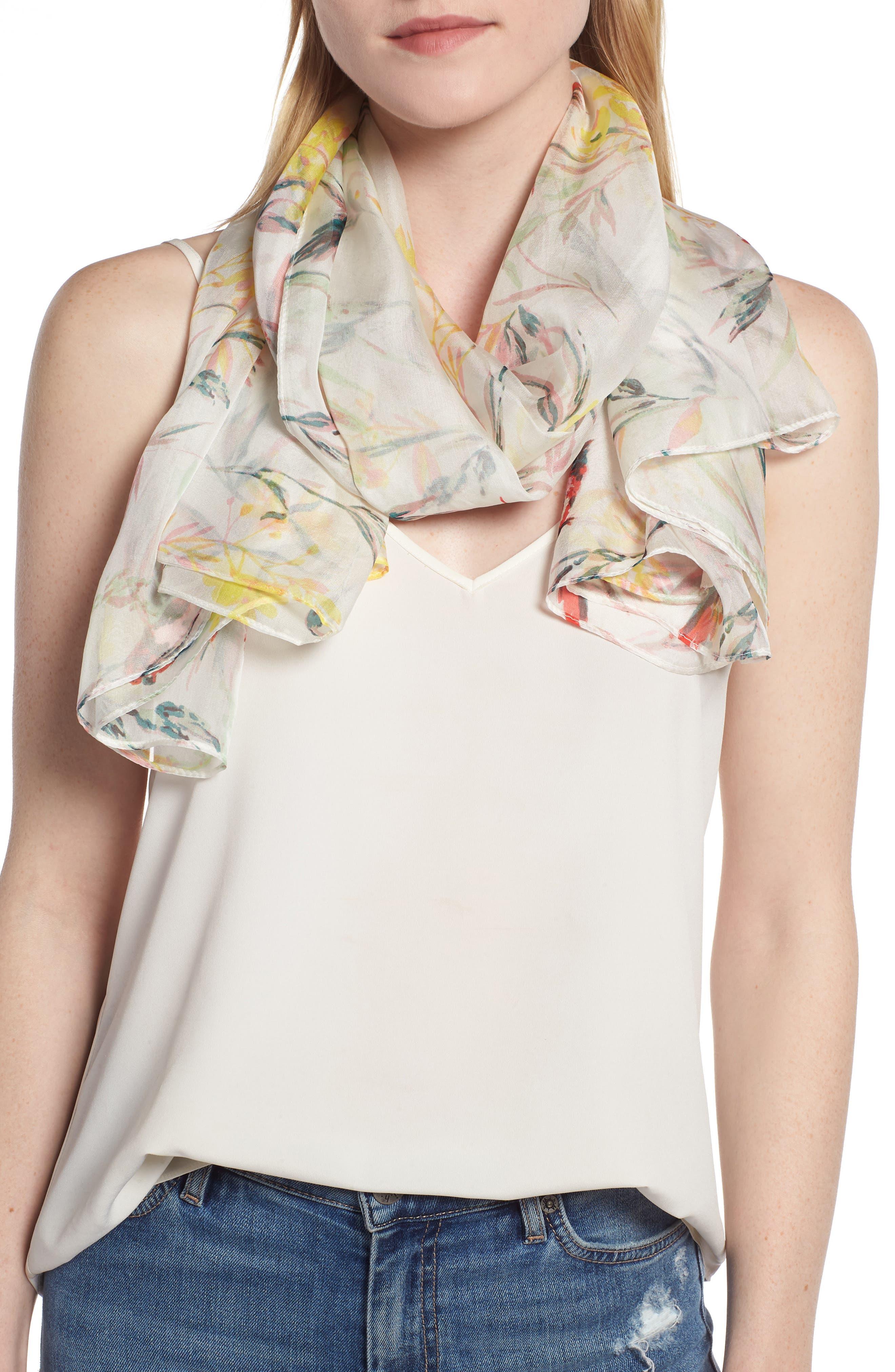 Print Silk Chiffon Oblong Scarf,                             Alternate thumbnail 4, color,                             White Savannah Birds
