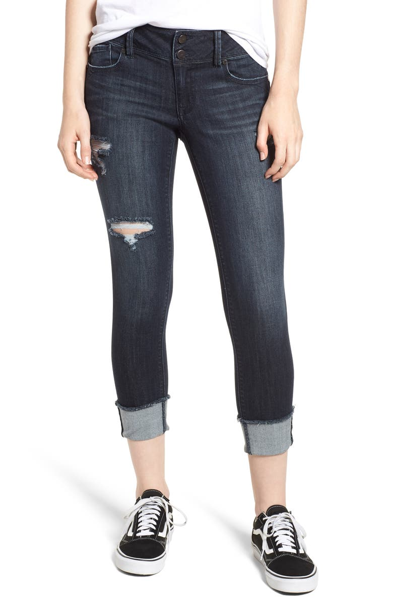 Ripped Roll Cuff Skinny Jeans