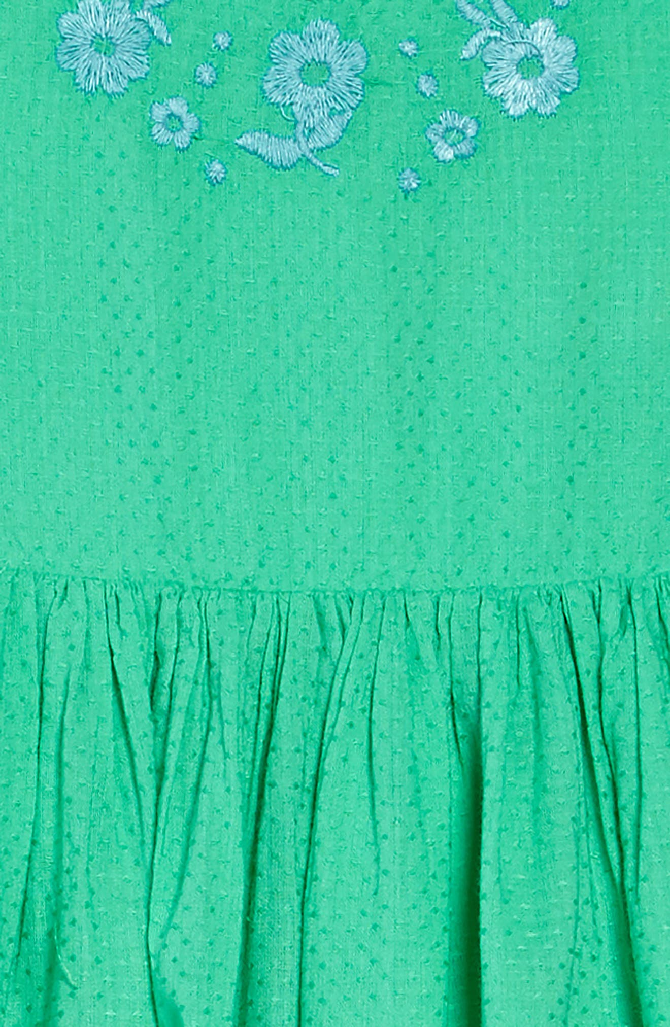 Embroidered Dress,                             Alternate thumbnail 3, color,                             Peppermint Cream Green