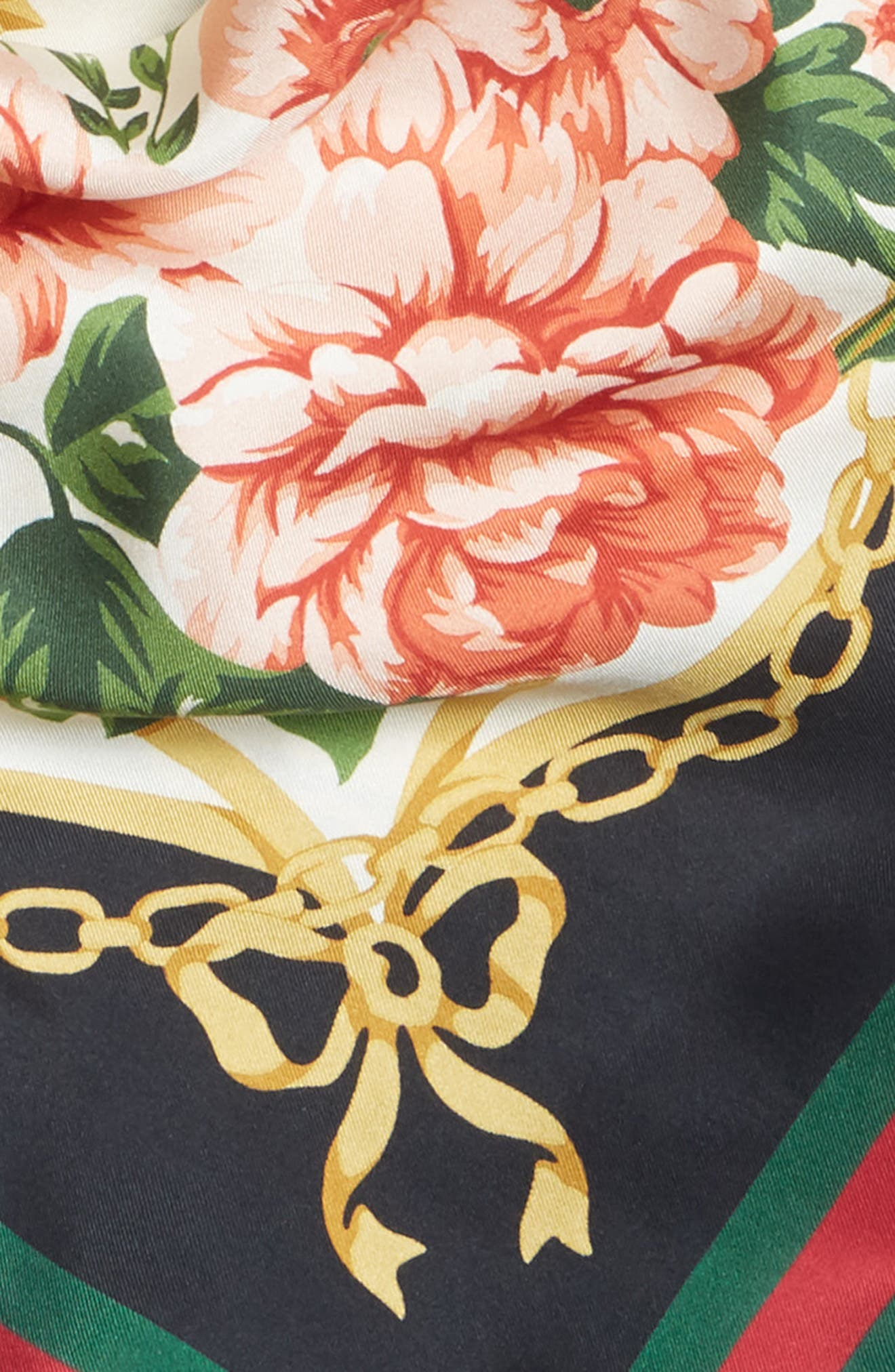 Rose Chain Foulard Silk Twill Scarf,                             Alternate thumbnail 4, color,                             Cream/ Blk