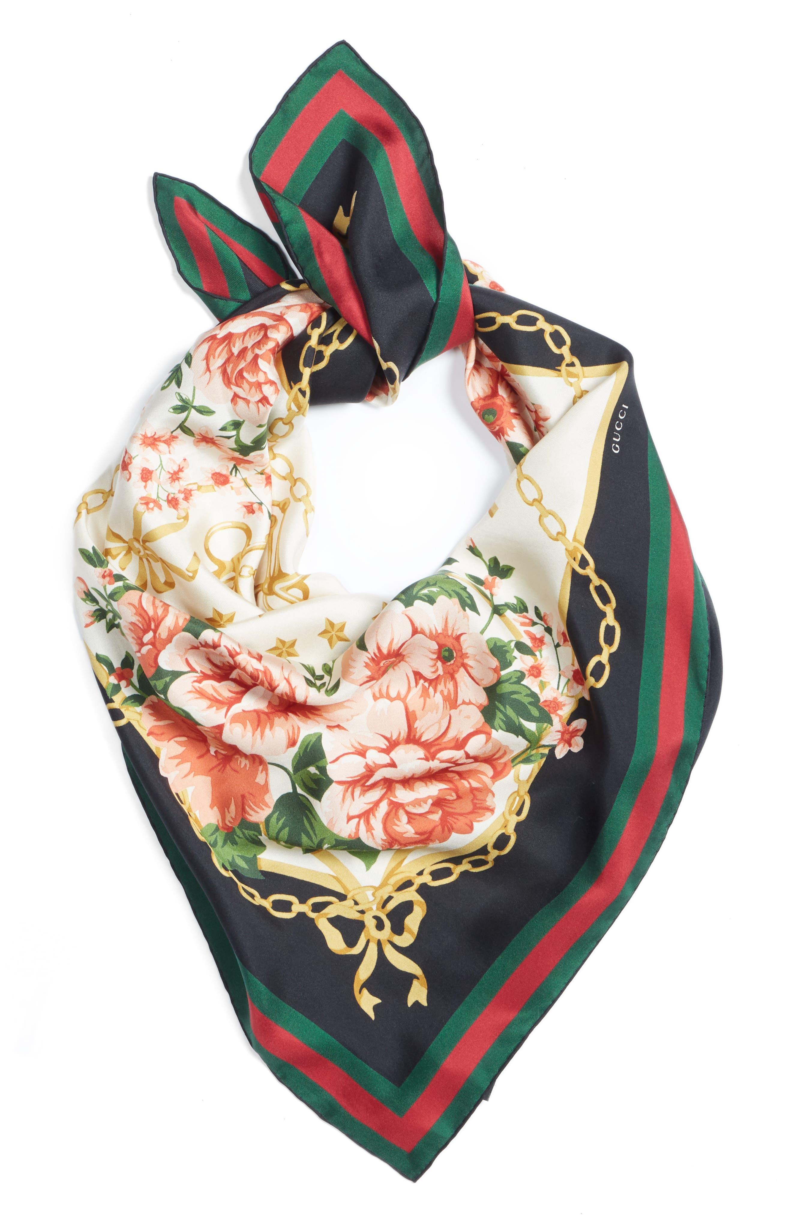 Rose Chain Foulard Silk Twill Scarf,                             Alternate thumbnail 3, color,                             Cream/ Blk