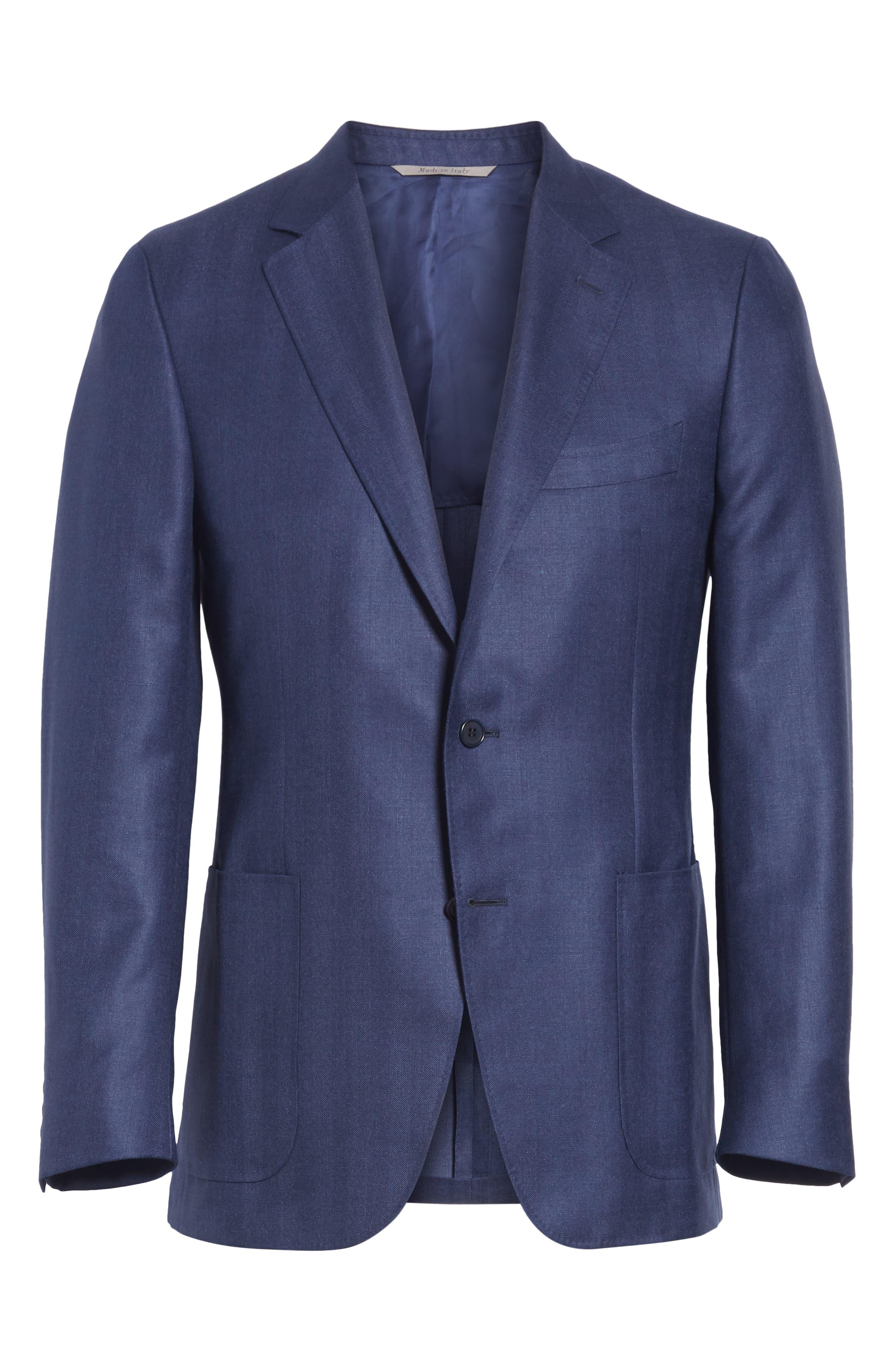 Venezia Classic Fit Herringbone Wool Blend Sport Coat,                             Alternate thumbnail 6, color,                             Blue