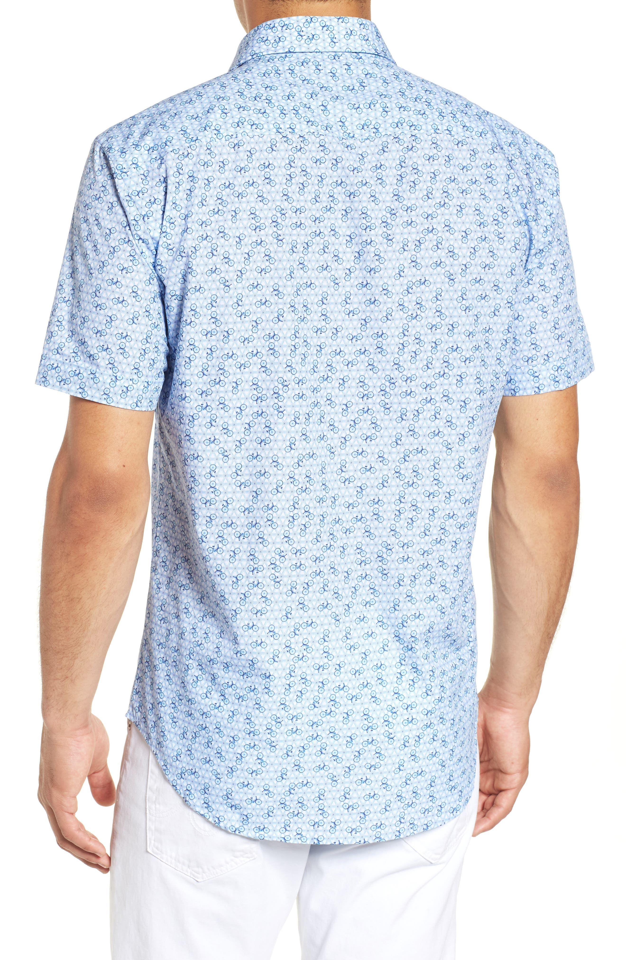 Shaped Fit Print Sport Shirt,                             Alternate thumbnail 3, color,                             Ice Blue