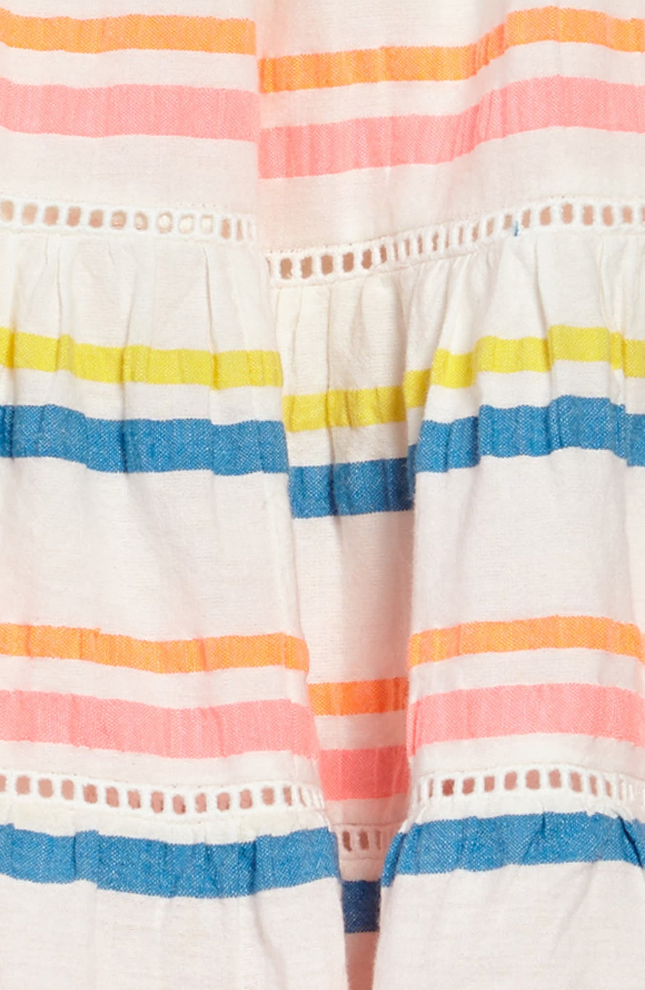 Twirly Tiered Dress,                             Alternate thumbnail 3, color,                             Mulneon Rainbow Multistripe