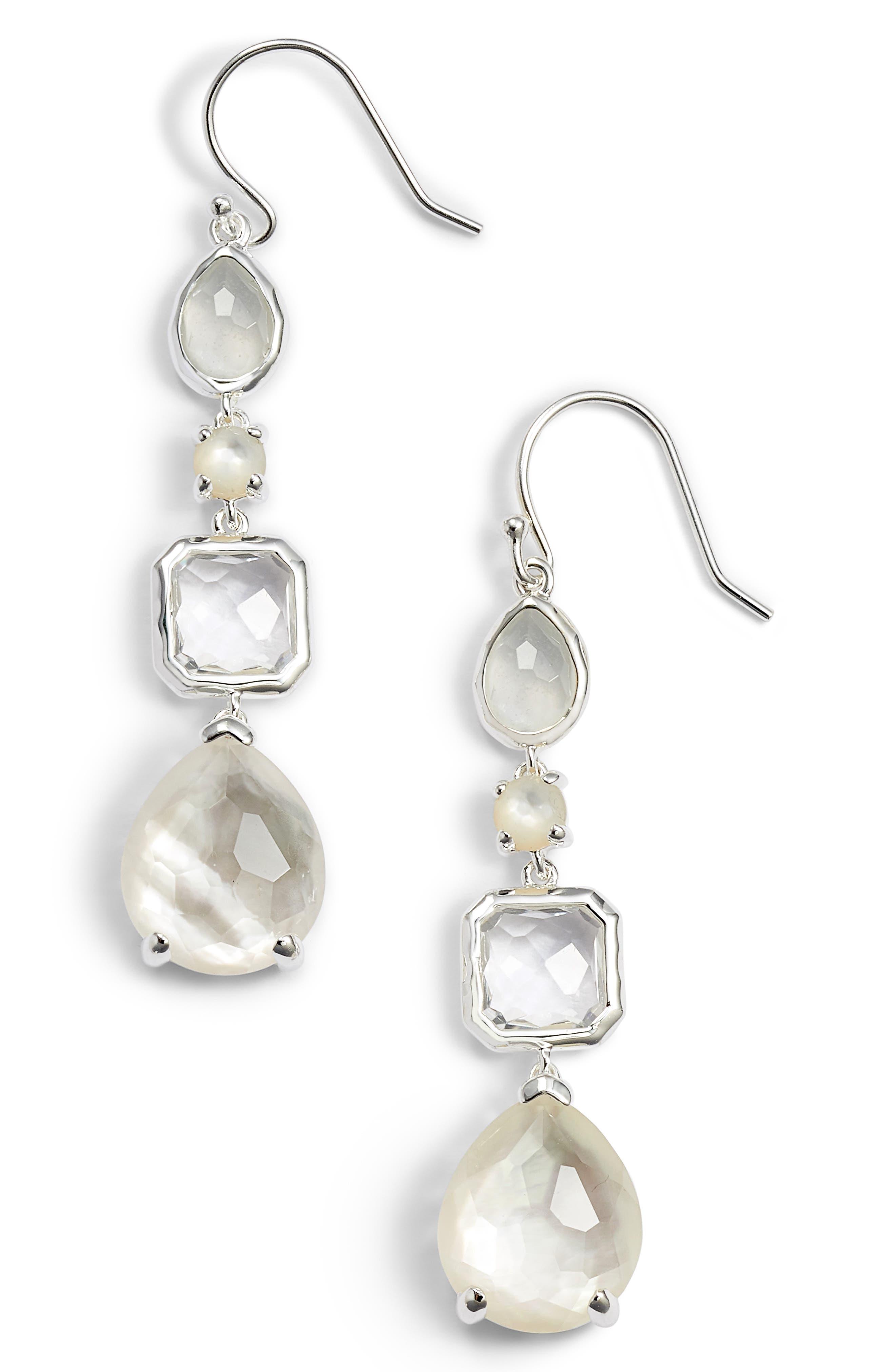 'Rock Candy' Semiprecious Stone Linear Drop Earrings,                             Main thumbnail 1, color,                             Silver/ Flirt