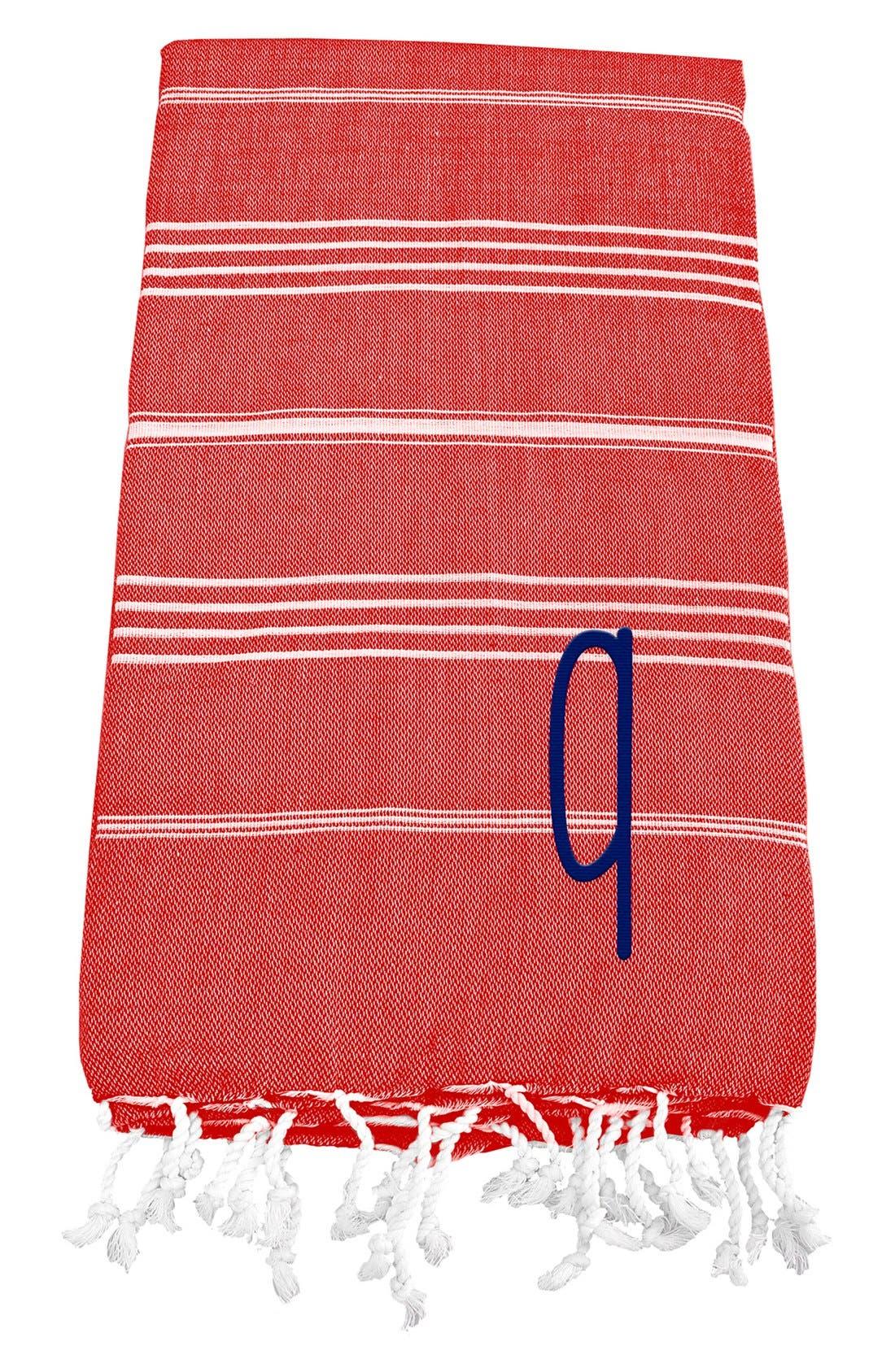 Monogram Turkish Cotton Towel,                         Main,                         color, Red - Q