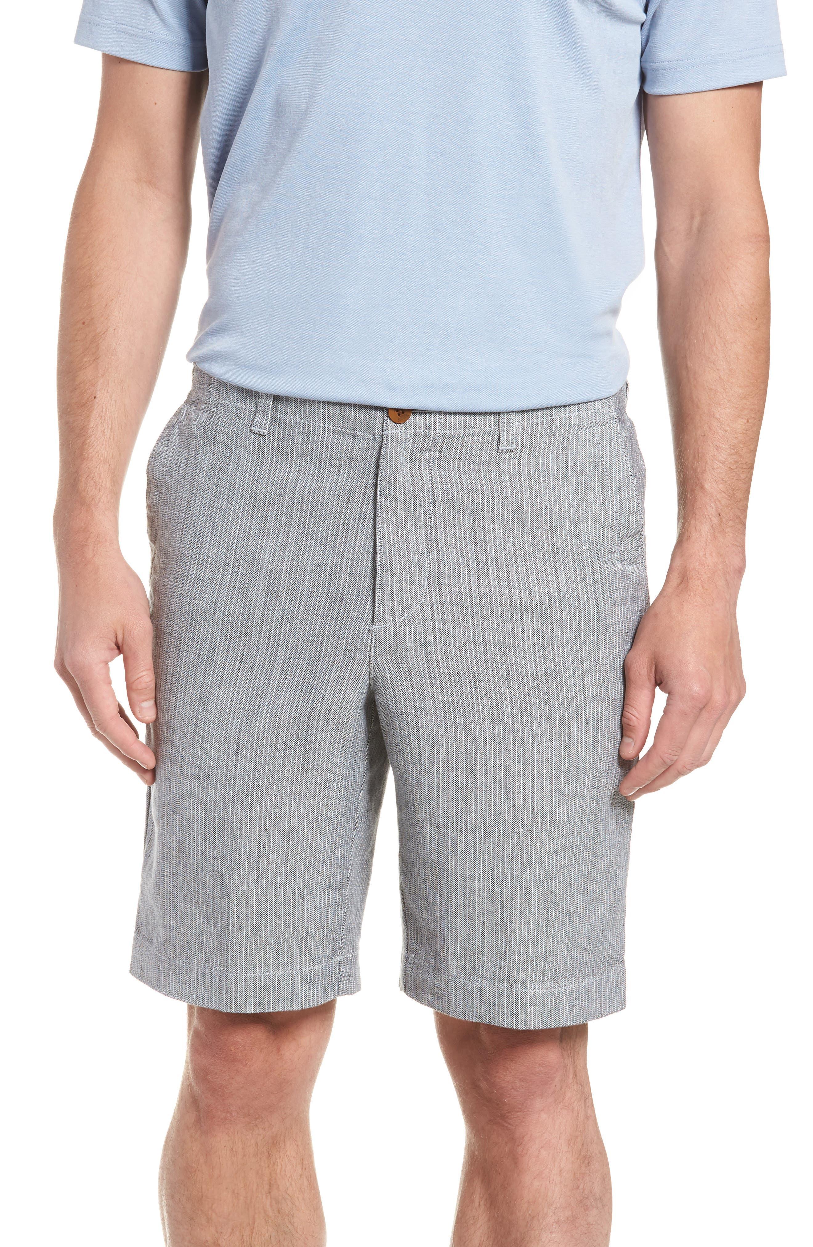Harbor Herringbone Linen Blend Shorts,                             Main thumbnail 1, color,                             Black