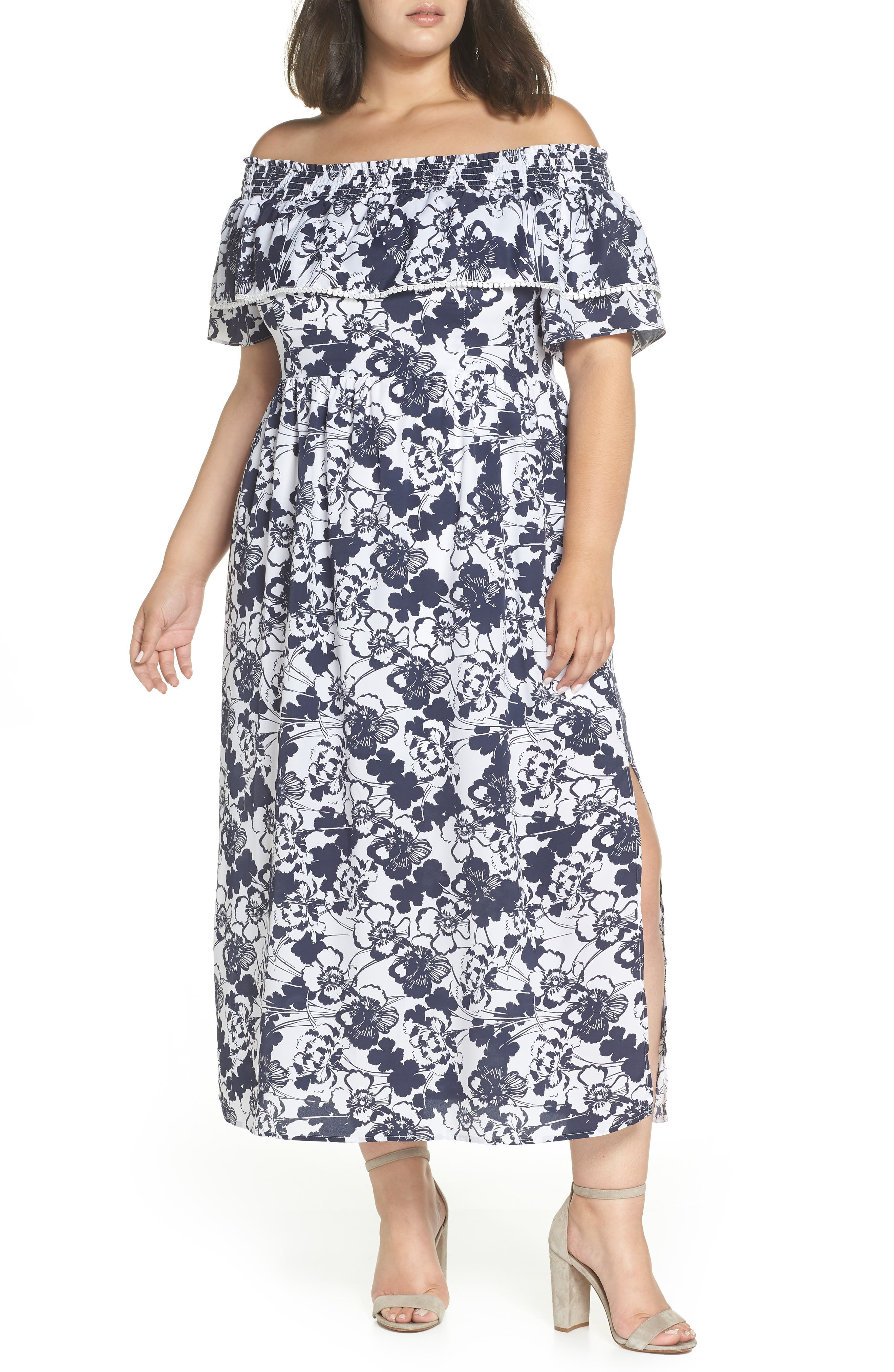Off the Shoulder Ruffle Maxi Dress,                             Alternate thumbnail 2, color,                             Navy Ivory Floral Print