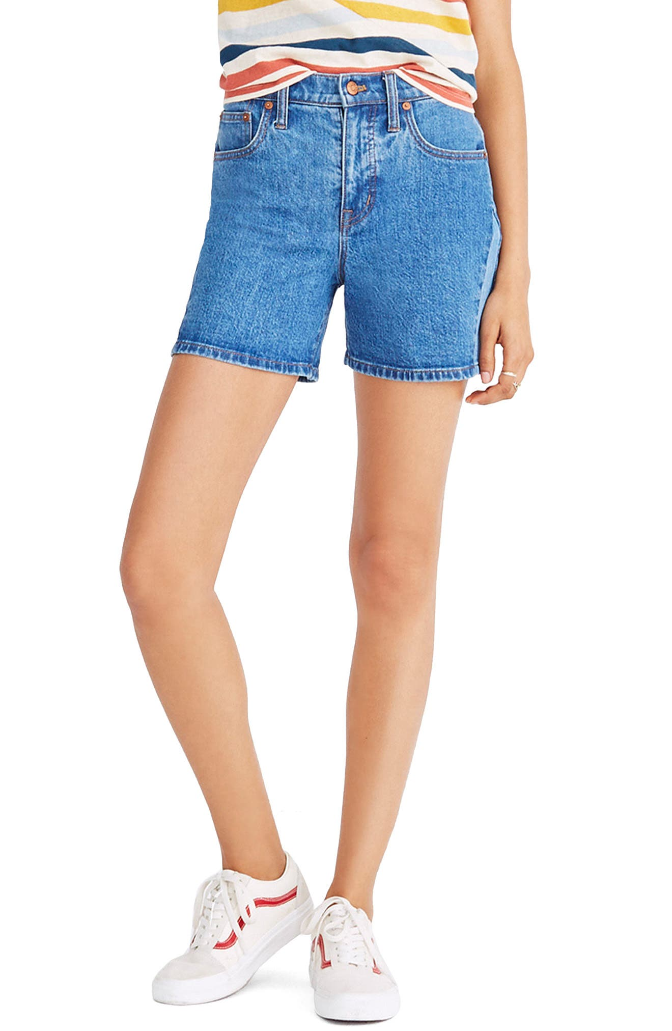 High Waist Pieced Denim Shorts,                         Main,                         color, Wylie