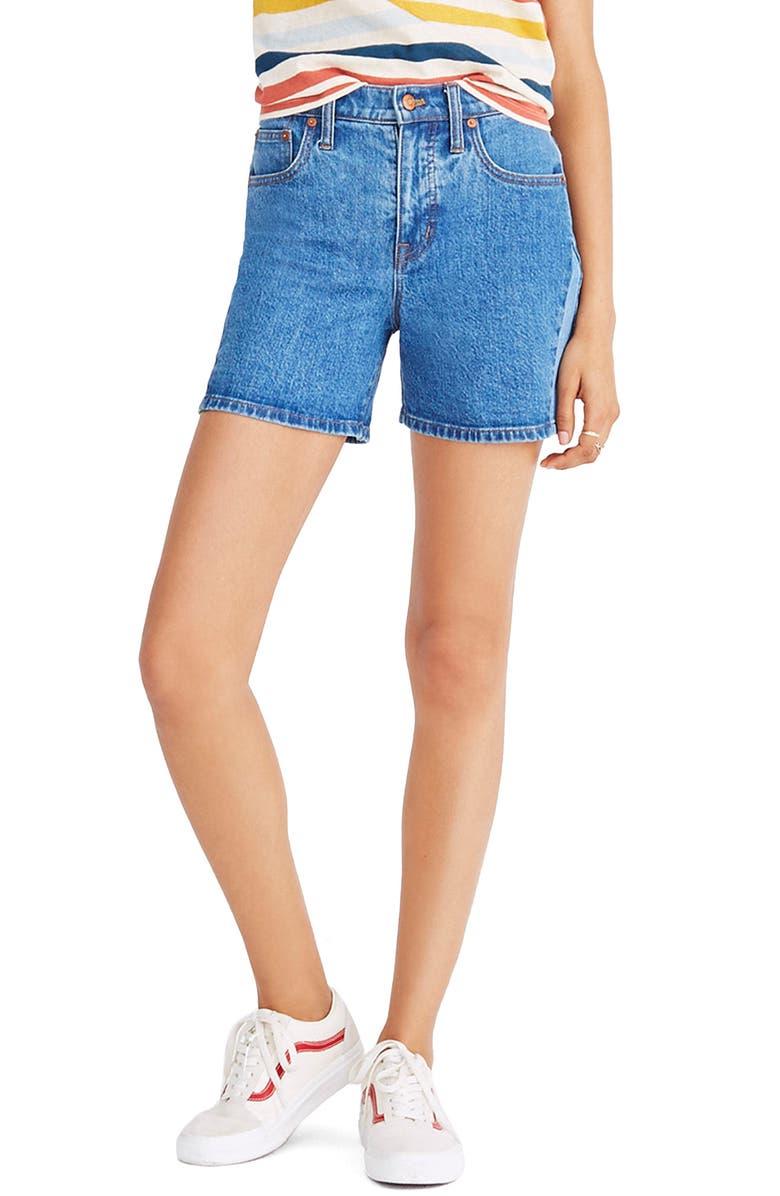 High Waist Pieced Denim Shorts