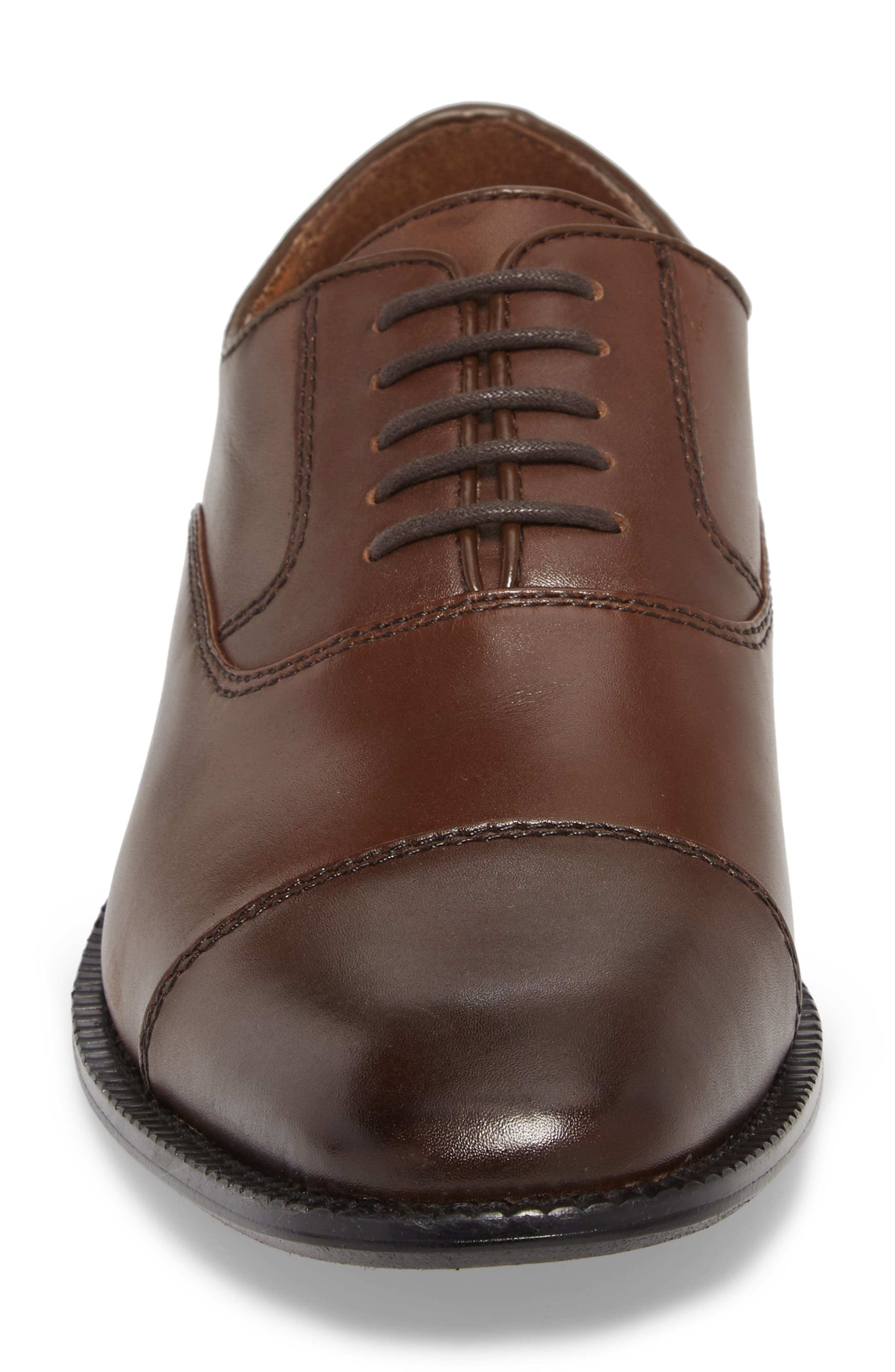 Dice Cap Toe Oxford,                             Alternate thumbnail 4, color,                             Brown Leather