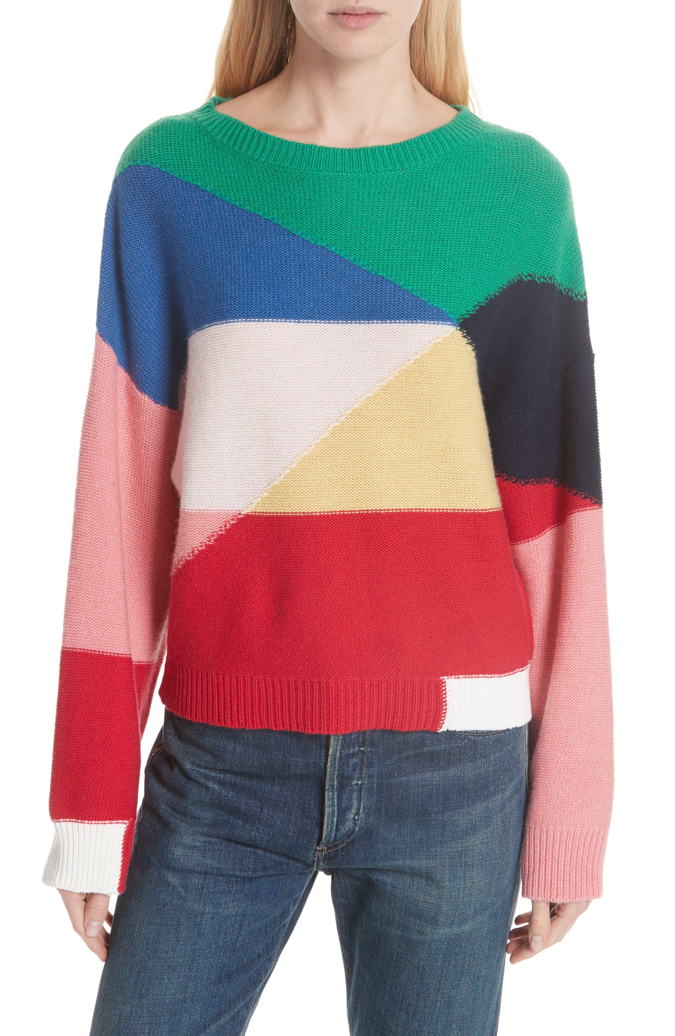 Megu Colorblock Wool & Cashmere Sweater,                             Main thumbnail 1, color,                             Multi
