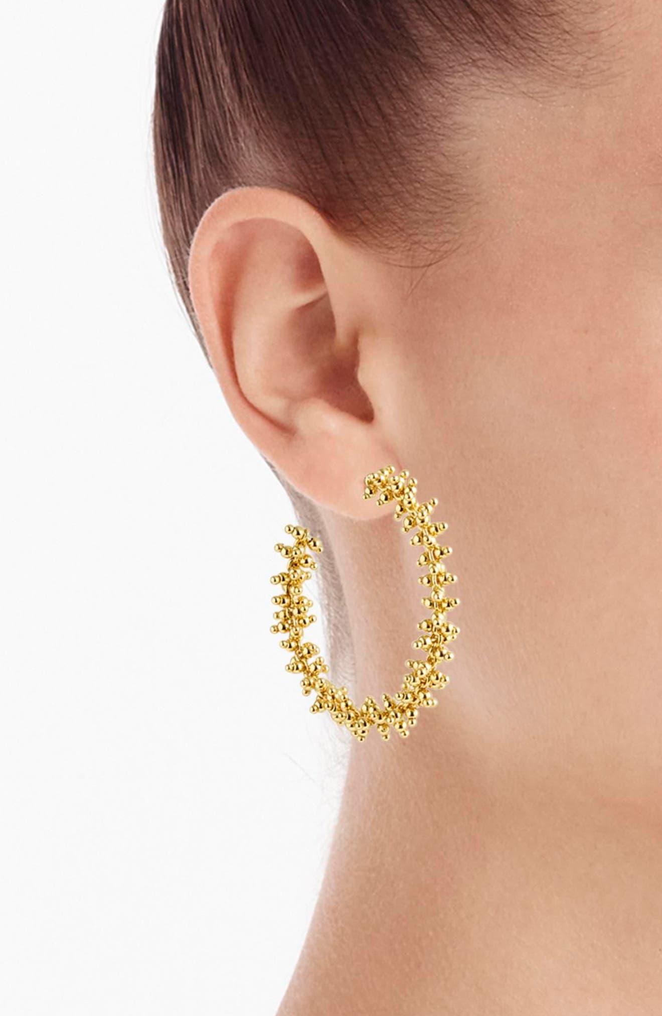 Beaded Hoop Earrings,                             Alternate thumbnail 2, color,                             Gold