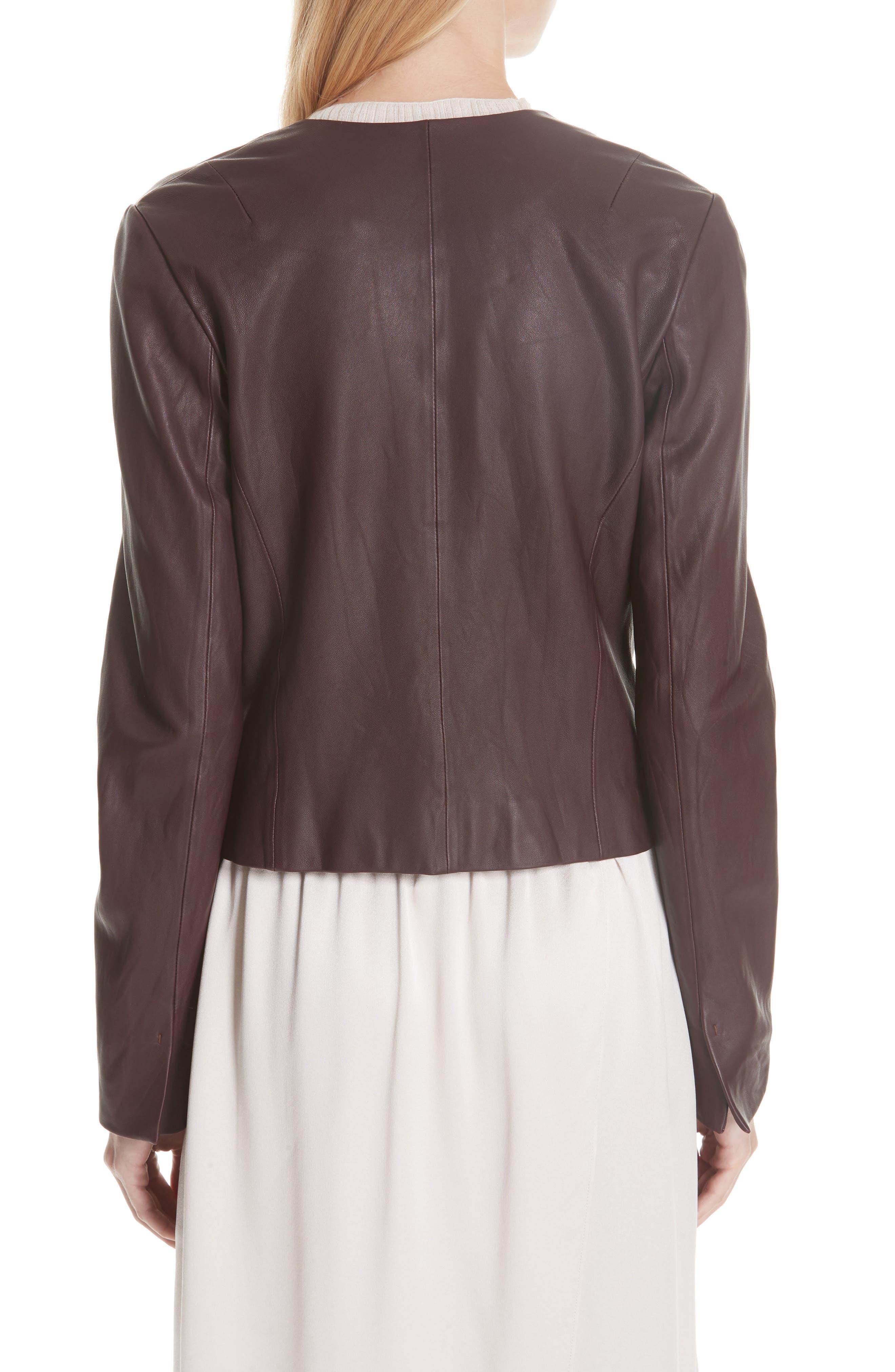Zip Cross Front Leather Jacket,                             Alternate thumbnail 2, color,                             Black Cherry