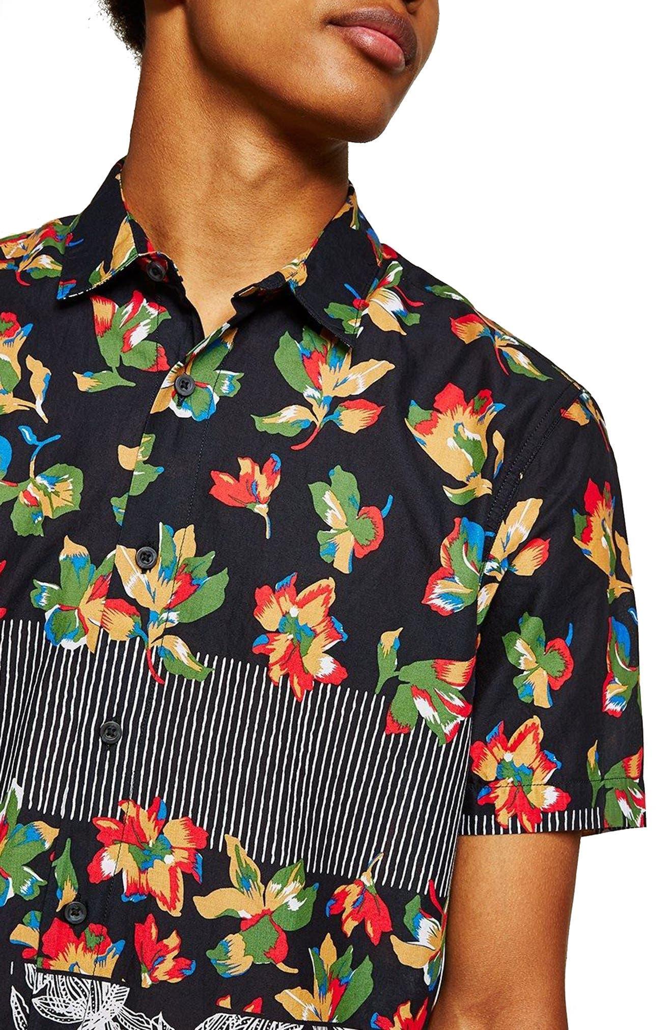 Multi Print Shirt,                             Alternate thumbnail 2, color,                             Black Multi
