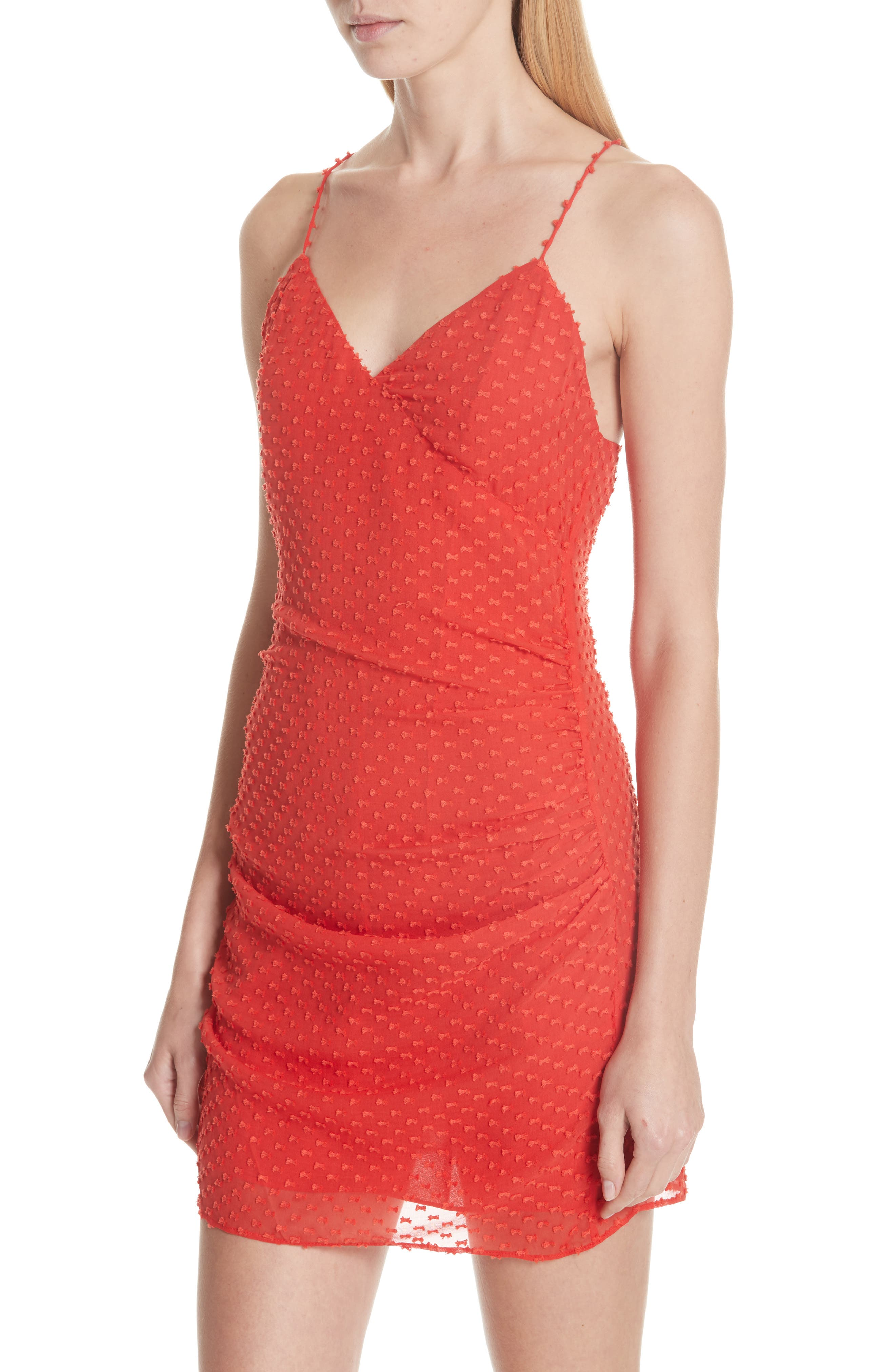 Daria Ruched Flare Silk Cotton Dress,                             Alternate thumbnail 4, color,                             Perfect Poppy